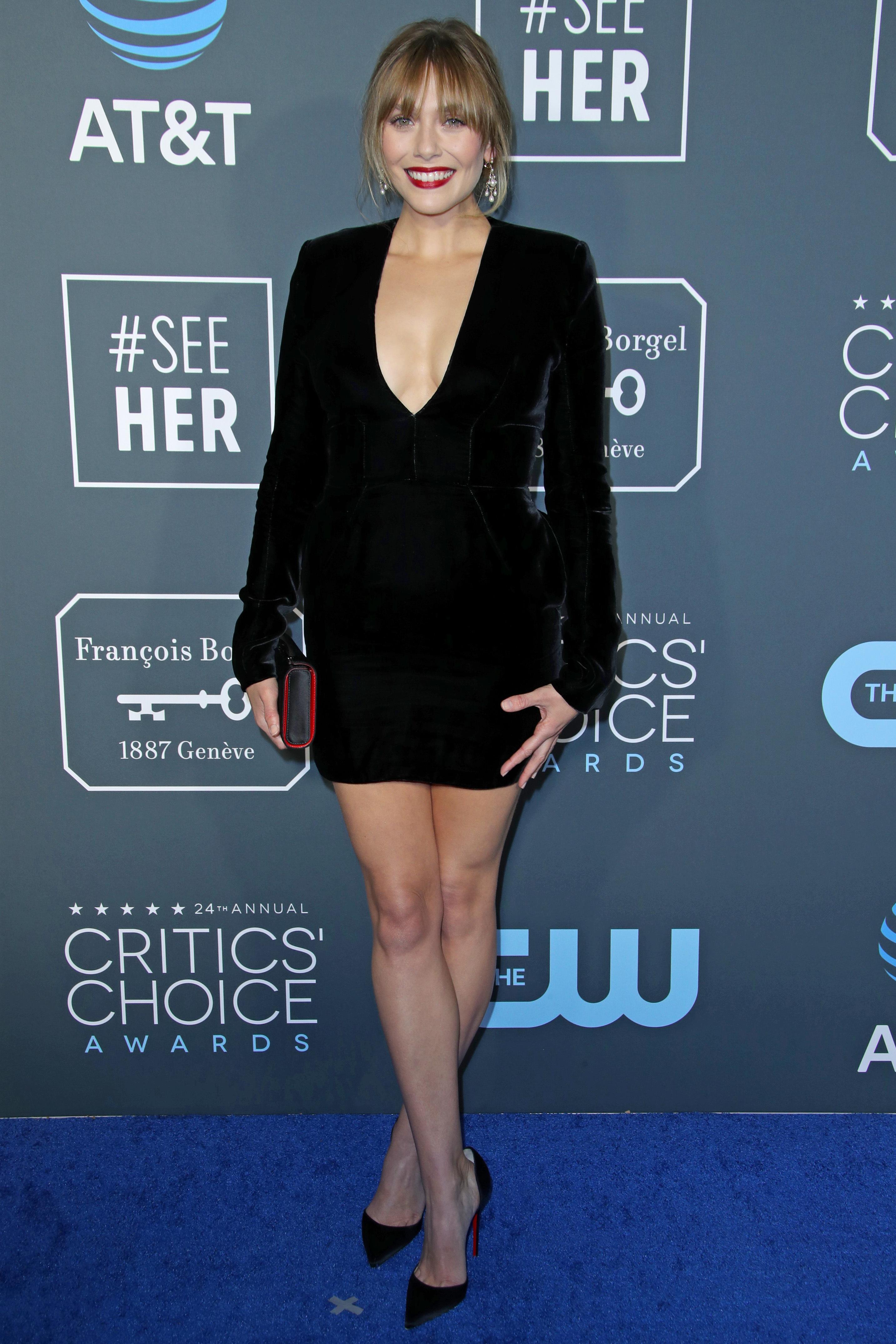 Elizabeth Olsen attends the 24th Annual Critics' Choice Awards at Barker Hanger in Santa Monica, California, on Jan. 13, 2019.