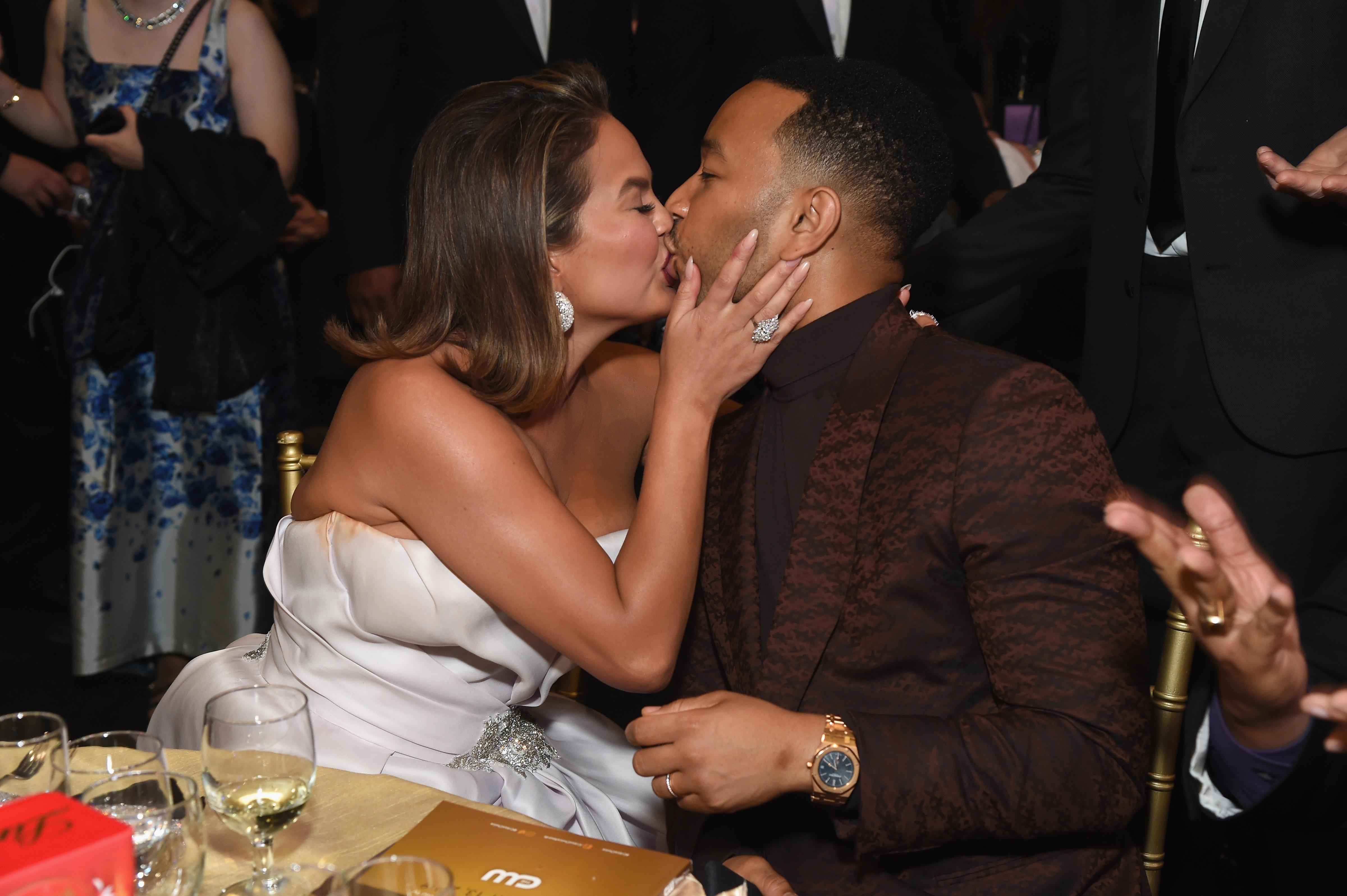 Chrissy Teigen and John Legend attend the 24th Annual Critics' Choice Awards at Barker Hangar in Santa Monica, California, on Jan. 13, 2019.