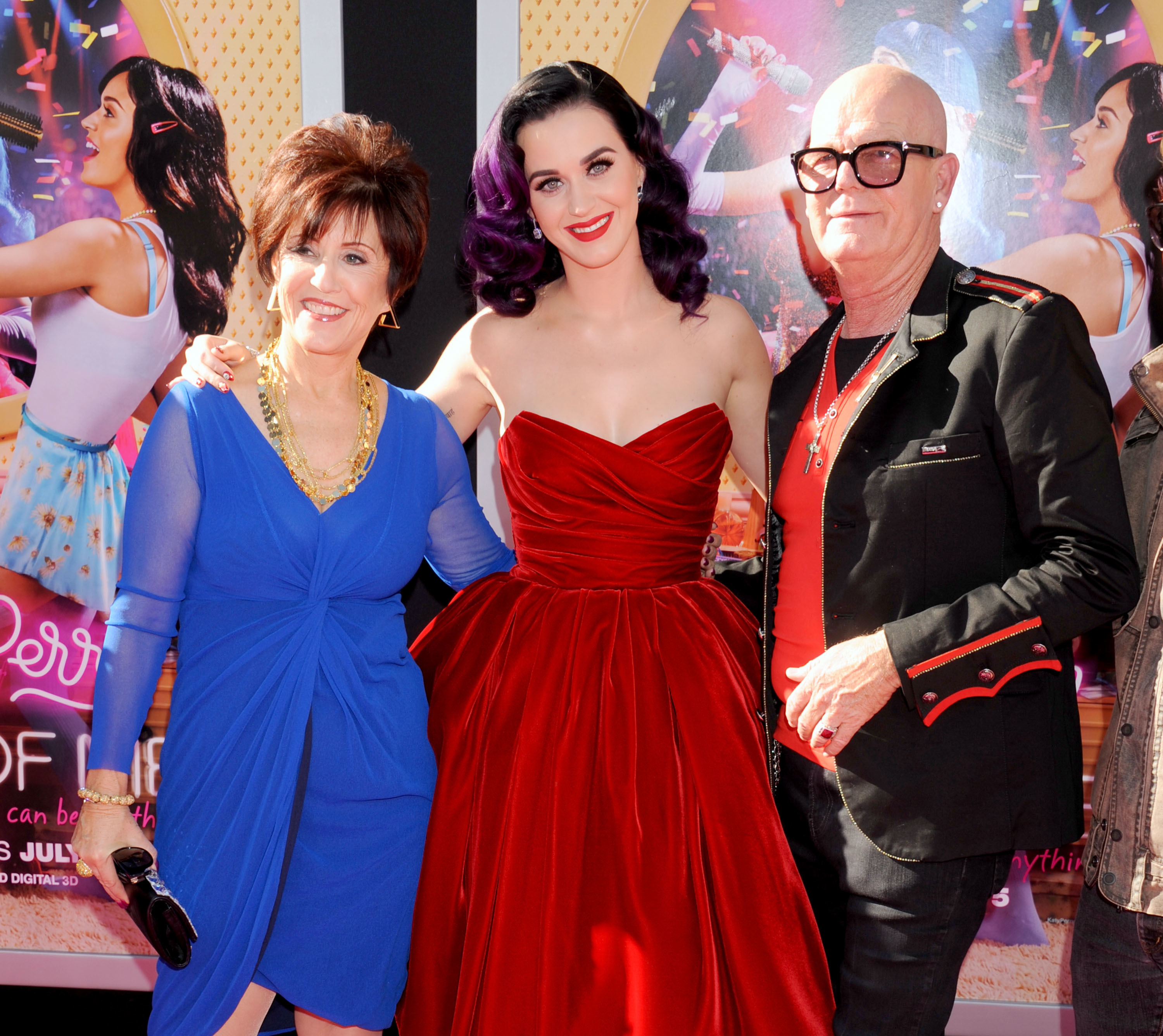 """Katy Perry poses with mom Mary Perry Hudson and dad Keith Hudson at the """"Katy Perry: Part Of Me"""" premiere at Grauman's Chinese Theatre in Hollywood on June 26, 2012."""