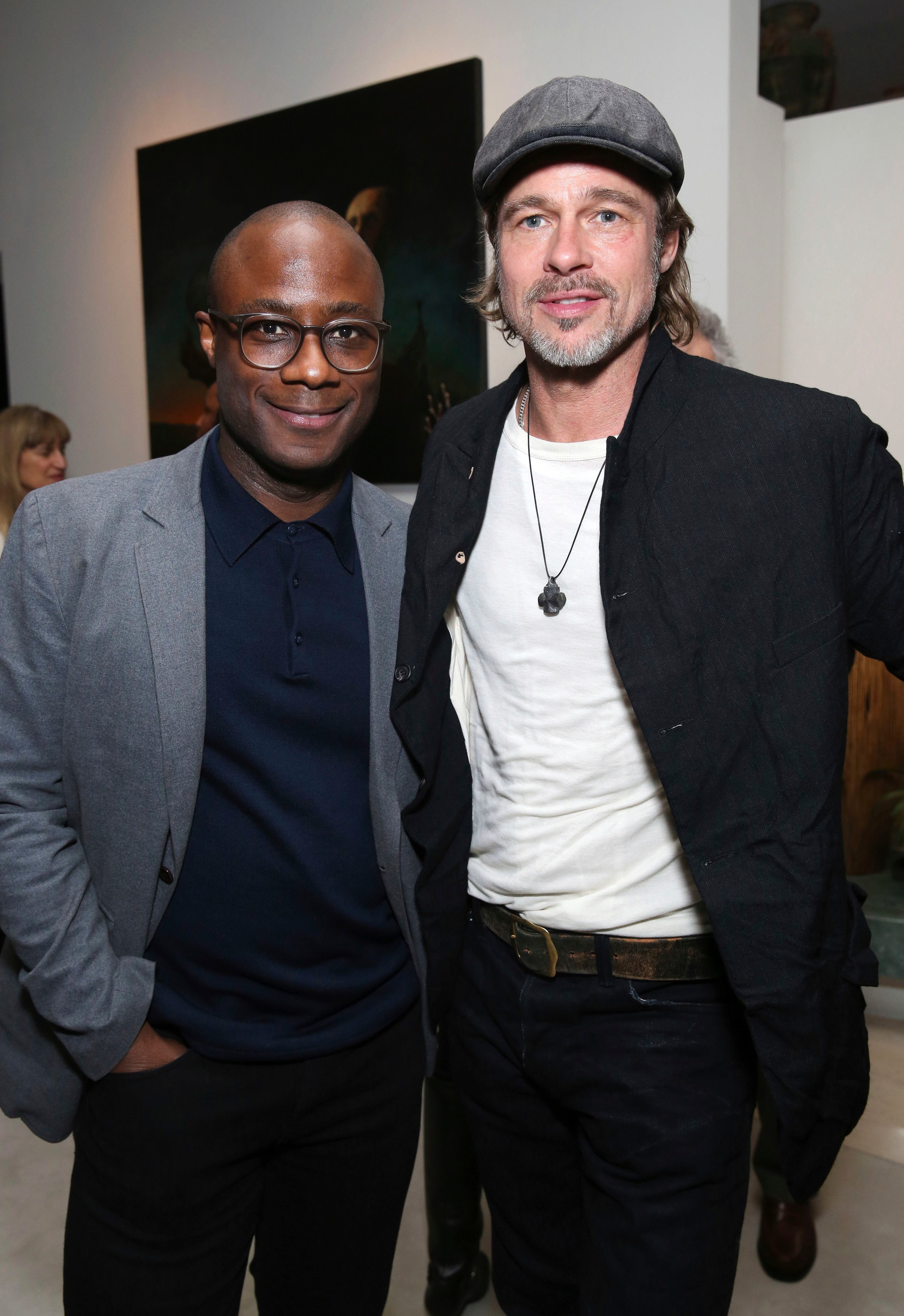 """Barry Jenkins and Brad Pitt attend the special screening of """"If Beale Street Could Talk"""" in Los Angeles on Jan. 12, 2019."""