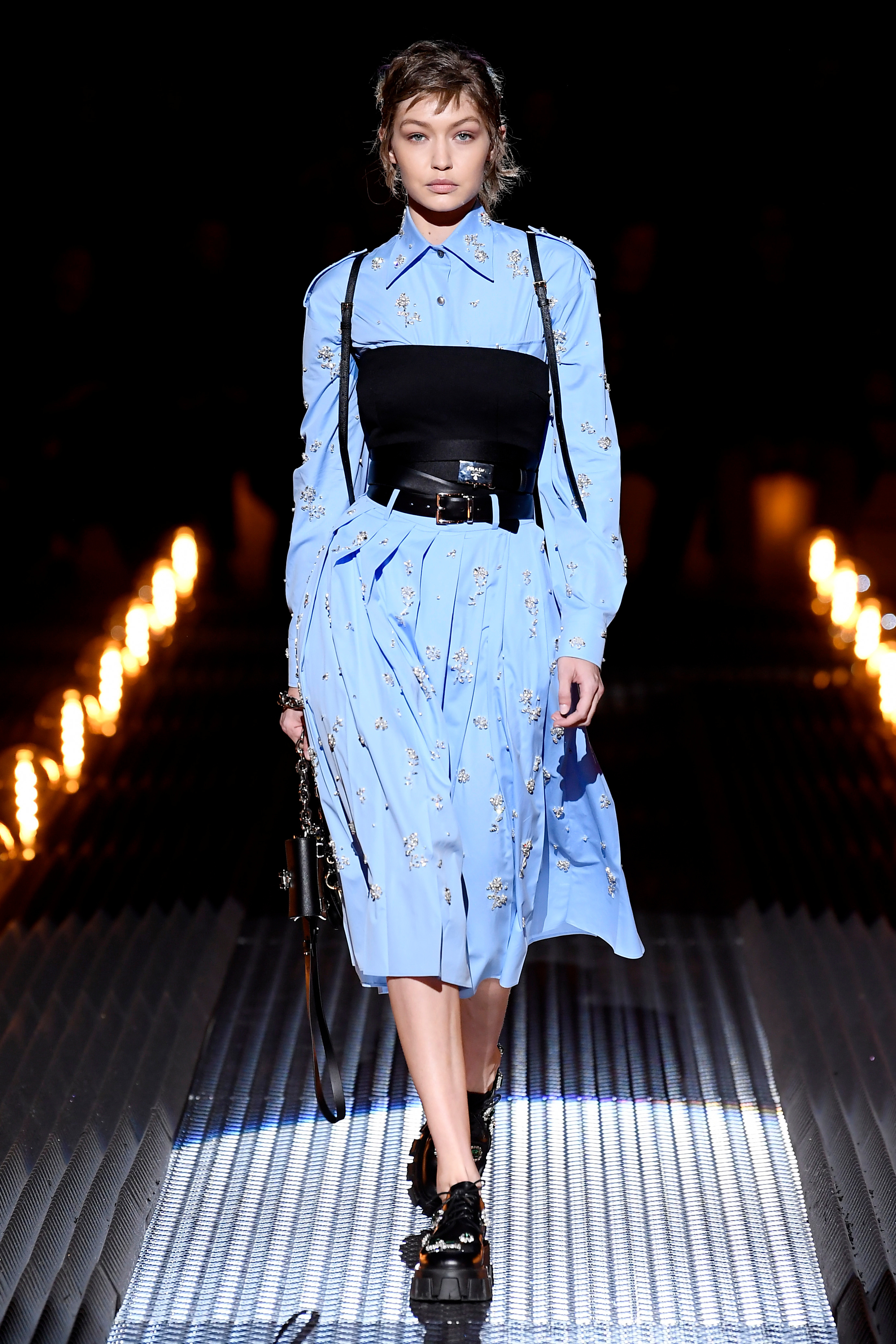 Gigi Hadid appears on the catwalk of the Prada show, for Fall/Winter 2019 at Milan Fashion Week Men's on Jan. 13, 2019.