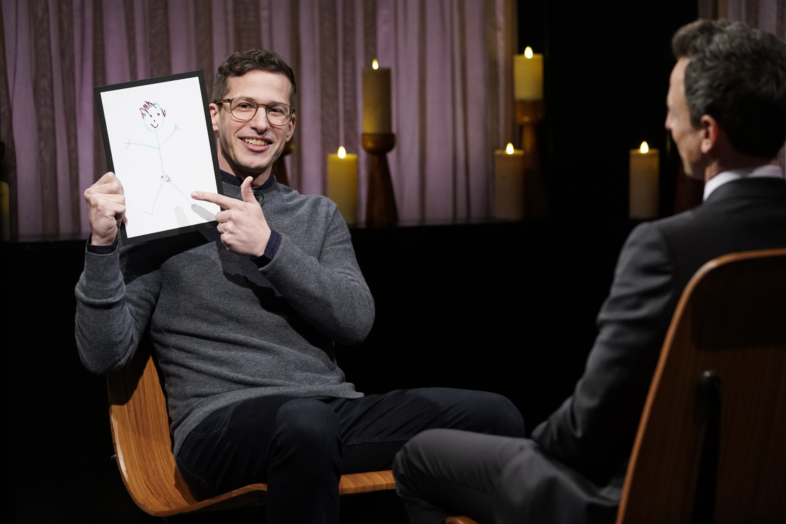 "Andy Samberg appears on ""Late Night with Seth Meyers"" on Jan. 9, 2019."