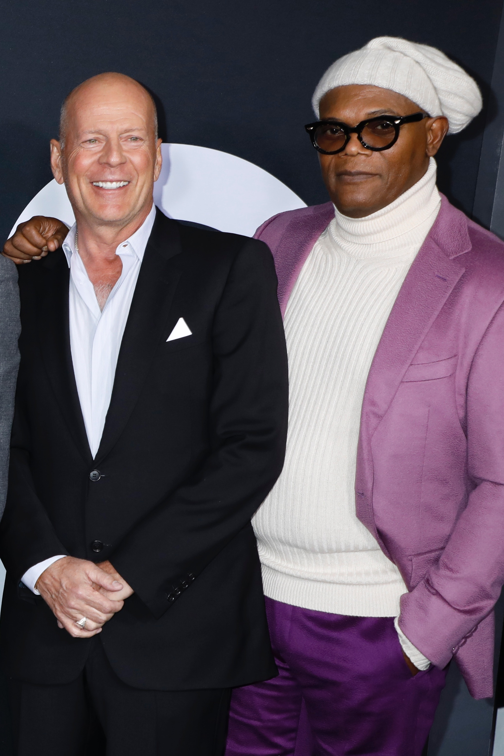 "Bruce Willis and Samuel L. Jackson attend the ""Glass"" film premiere in New York City on Jan. 15, 2019."