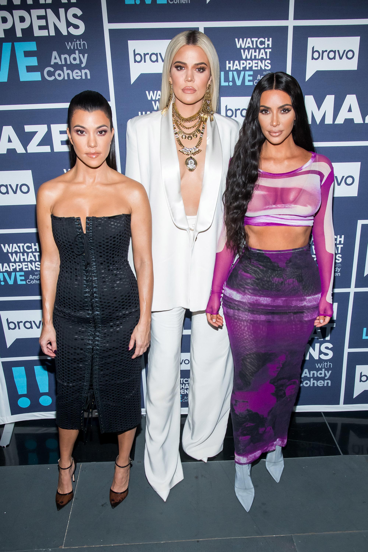"Kourtney Kardashian, Khloe Kardashian and Kim Kardashian West visit the ""Watch What Happens Live with Andy Cohen"" studios in New York City on Jan. 14, 2019."