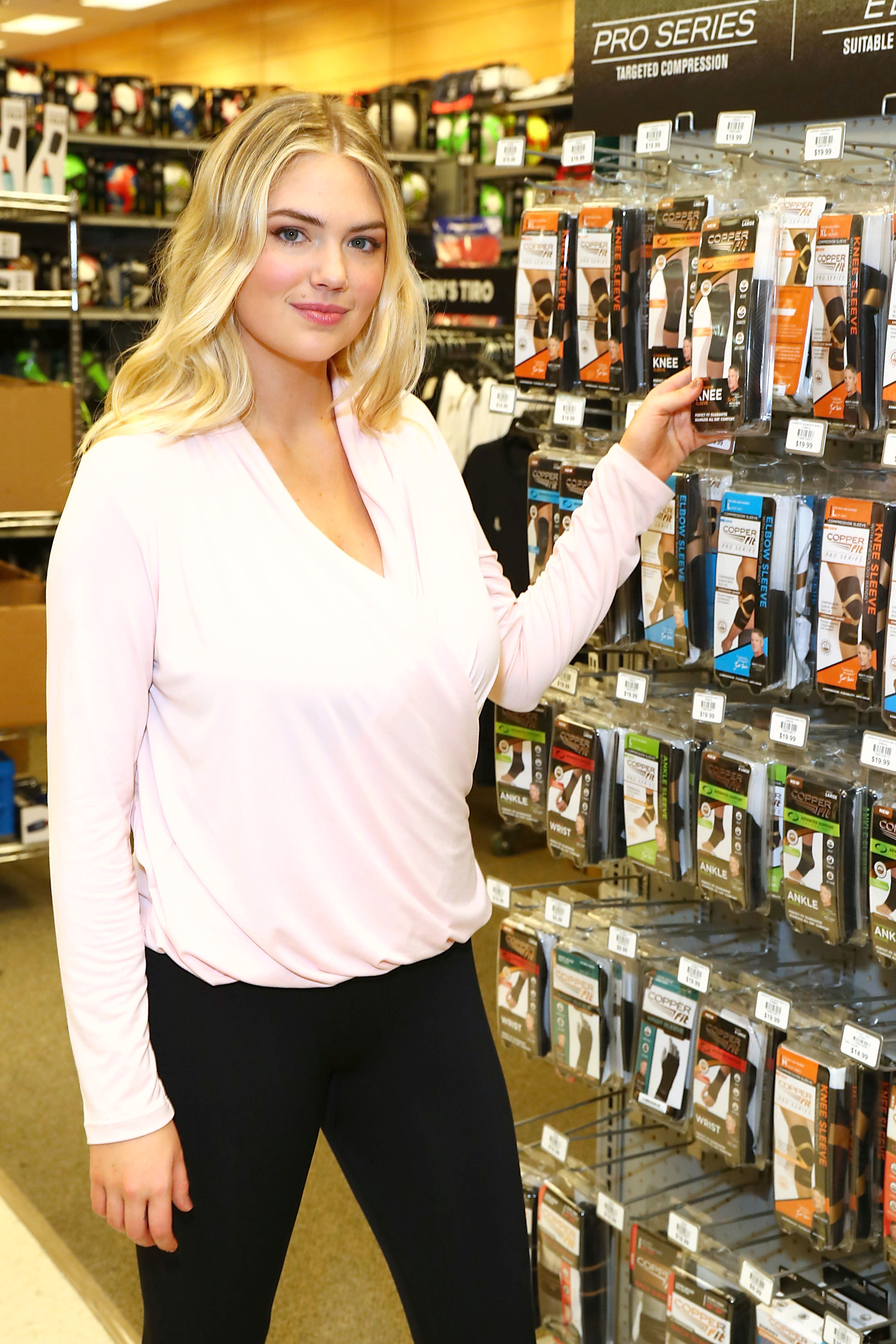 Kate Upton shops Copper Fit at Dick's Sporting Goods in El Segundo, California, on Jan. 9, 2019.