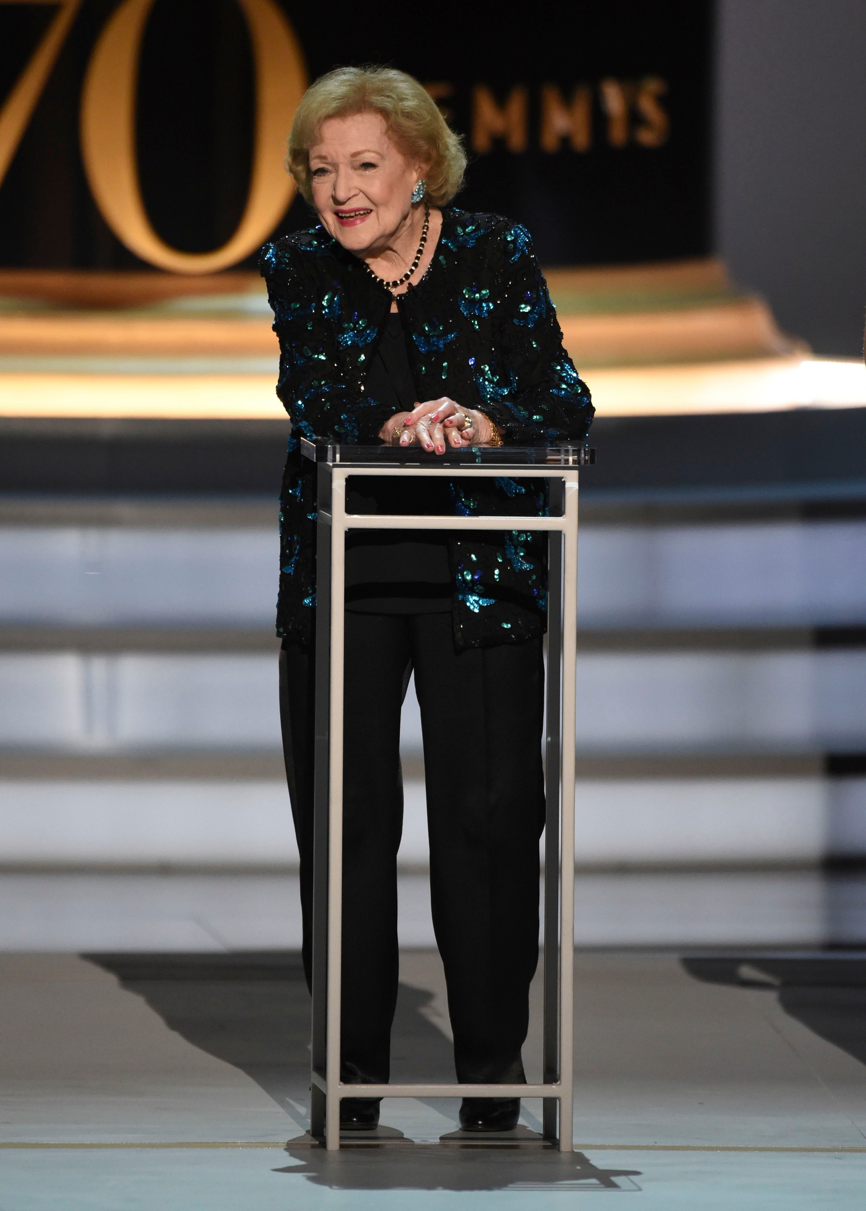 Betty White speaks on stage at the 70th Primetime Emmy Awards in Los Angeles on Sept. 17, 2018.