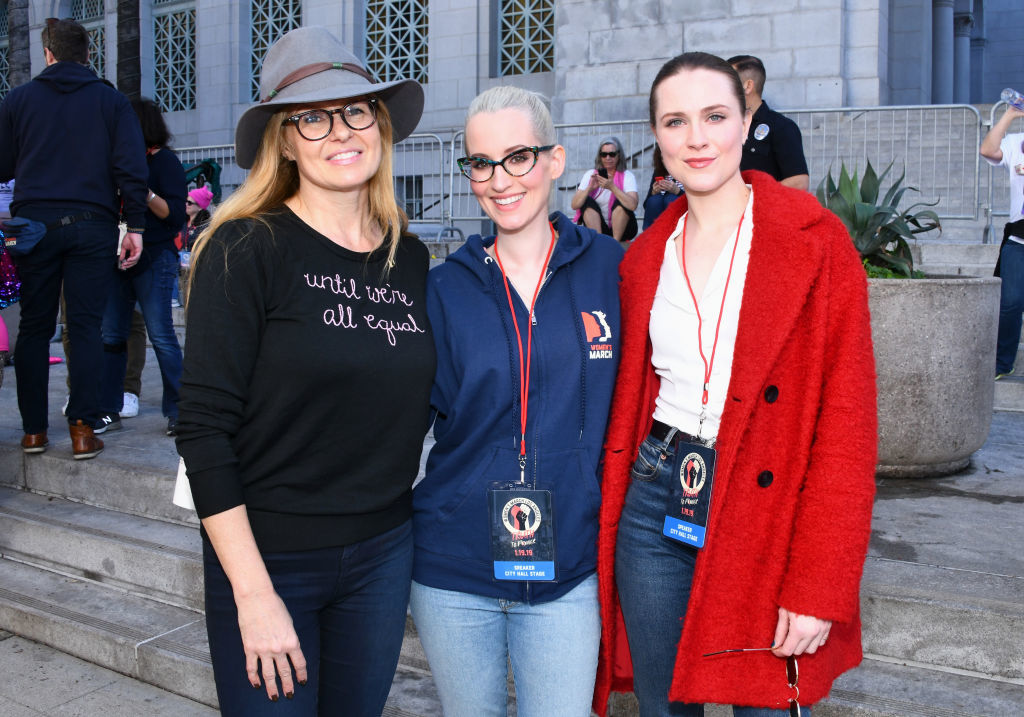 Connie Britton, Ingrid Michaelson and Evan Rachel Wood attend the Women's March in Los Angeles on Jan. 19, 2019.