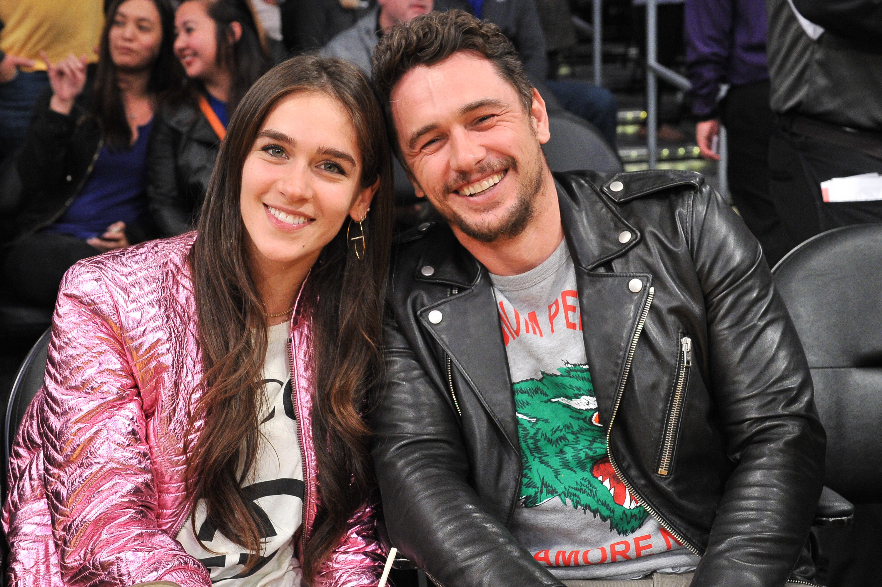Isabel Pakzad and James Franco attend a basketball game between the Los Angeles Lakers and the Golden State Warriors at Staples Center in Los Angeles on Jan. 21, 2019.