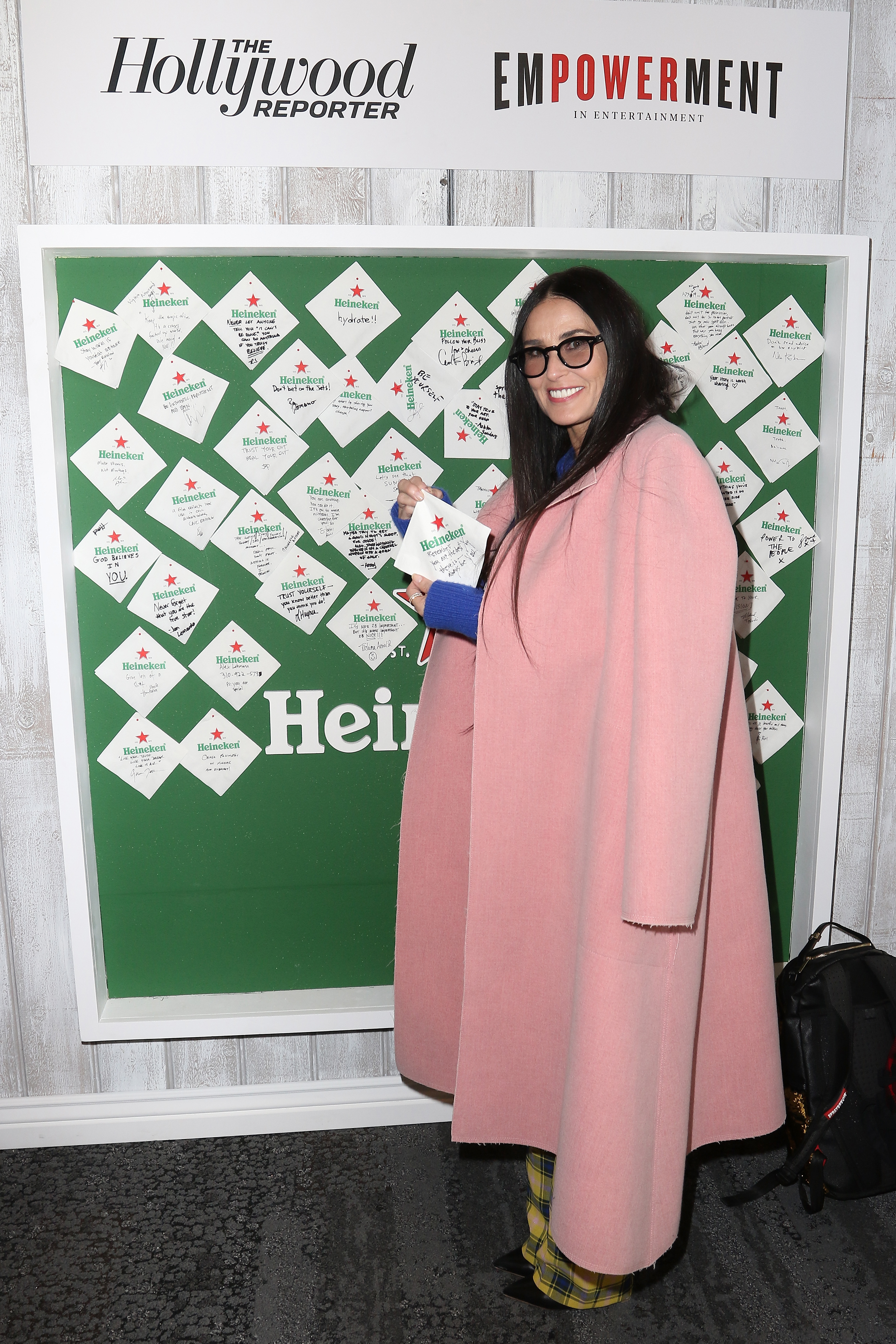 Demi Moore stops by the Heineken wall at The Hollywood Reporter's Sundance Studio At Sky Strada in Park City, Utah, on Jan. 28, 2019.