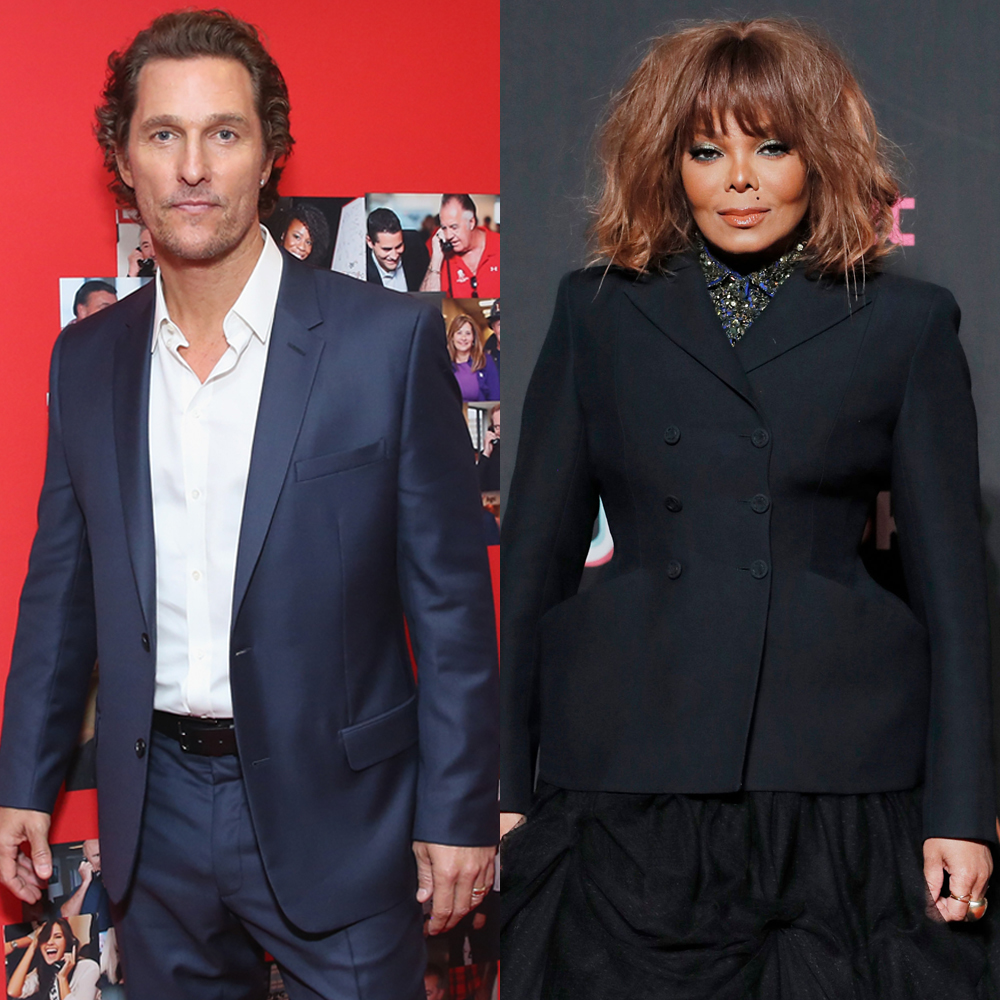 Matthew McConaughey attends Annual Charity Day hosted by Cantor Fitzgerald, BGC and GFI at BGC Partners, Inc. in New York City on Sept. 11, 2018. Janet Jackson attends the South Korea MAMA Awards in Hong Kong on Dec. 14, 2018.