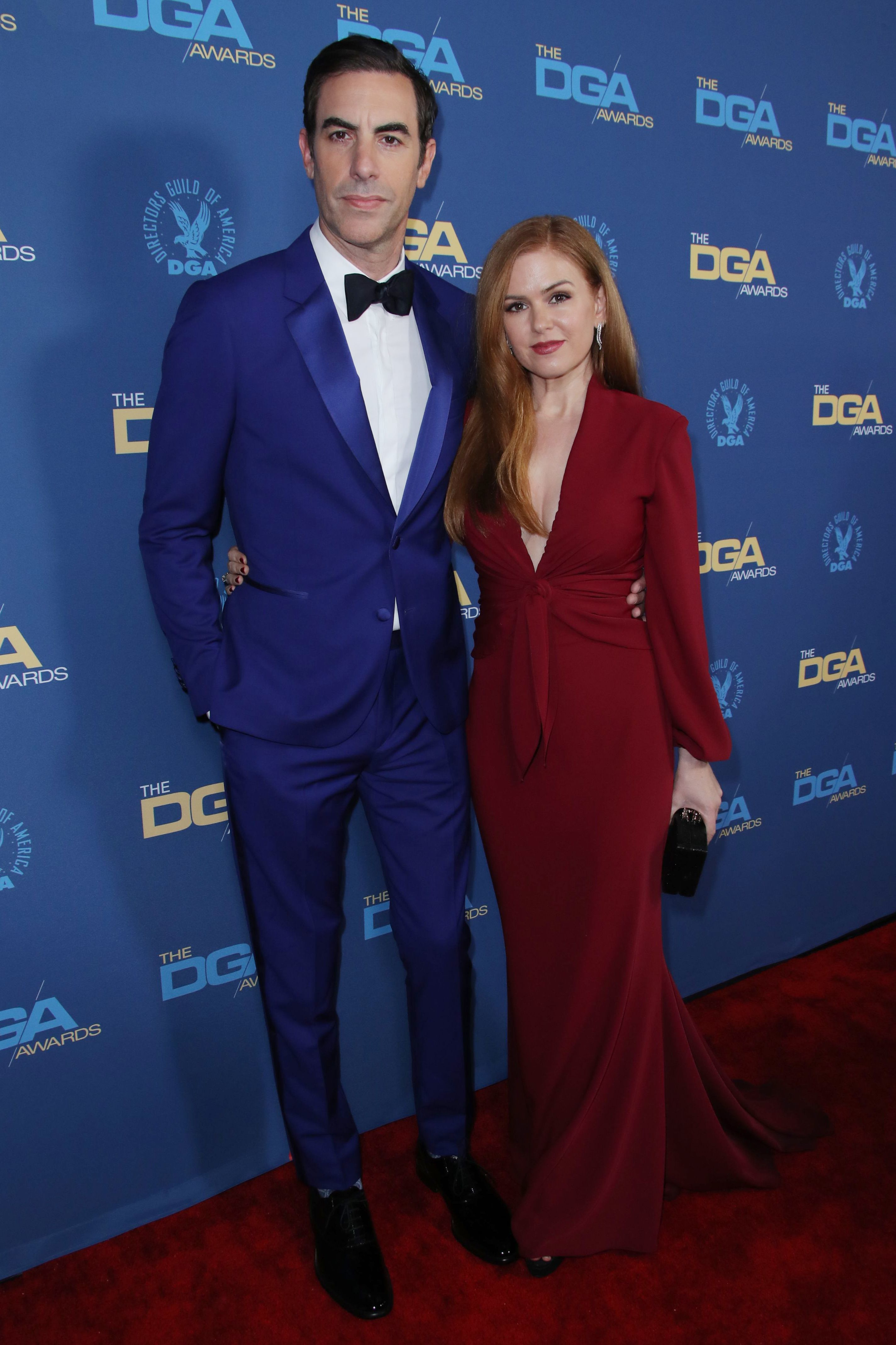 Sacha Baron Cohen and Isla Fisher attend the 71st Annual Directors Guild of America Awards in Los Angeles on Feb. 2, 2019.