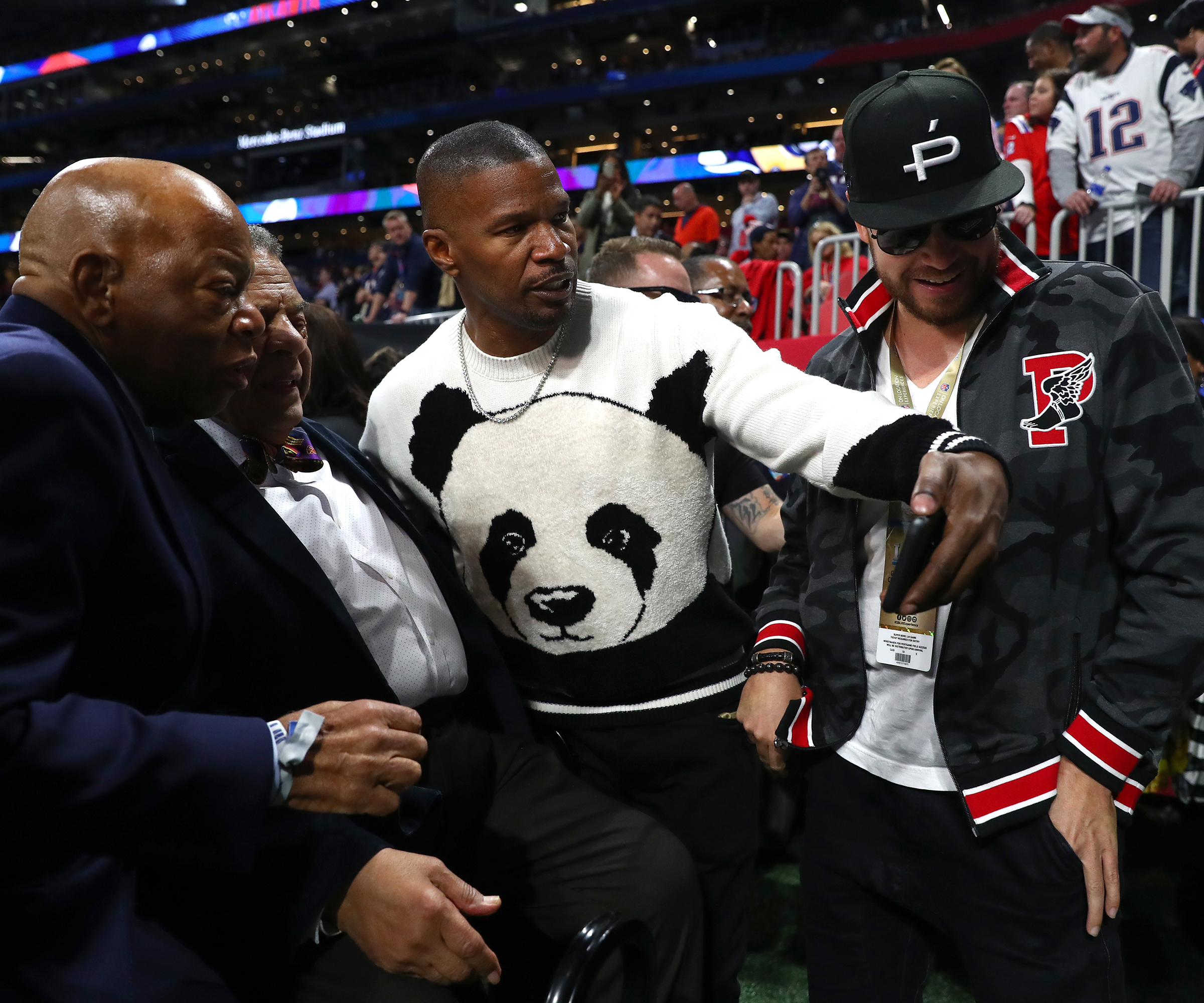 Jamie Foxx is seen prior to Super Bowl LIII between the Los Angeles Rams and the New England Patriots at Mercedes Benz Stadium in Atlanta, Georgia, on Feb. 3, 2019.