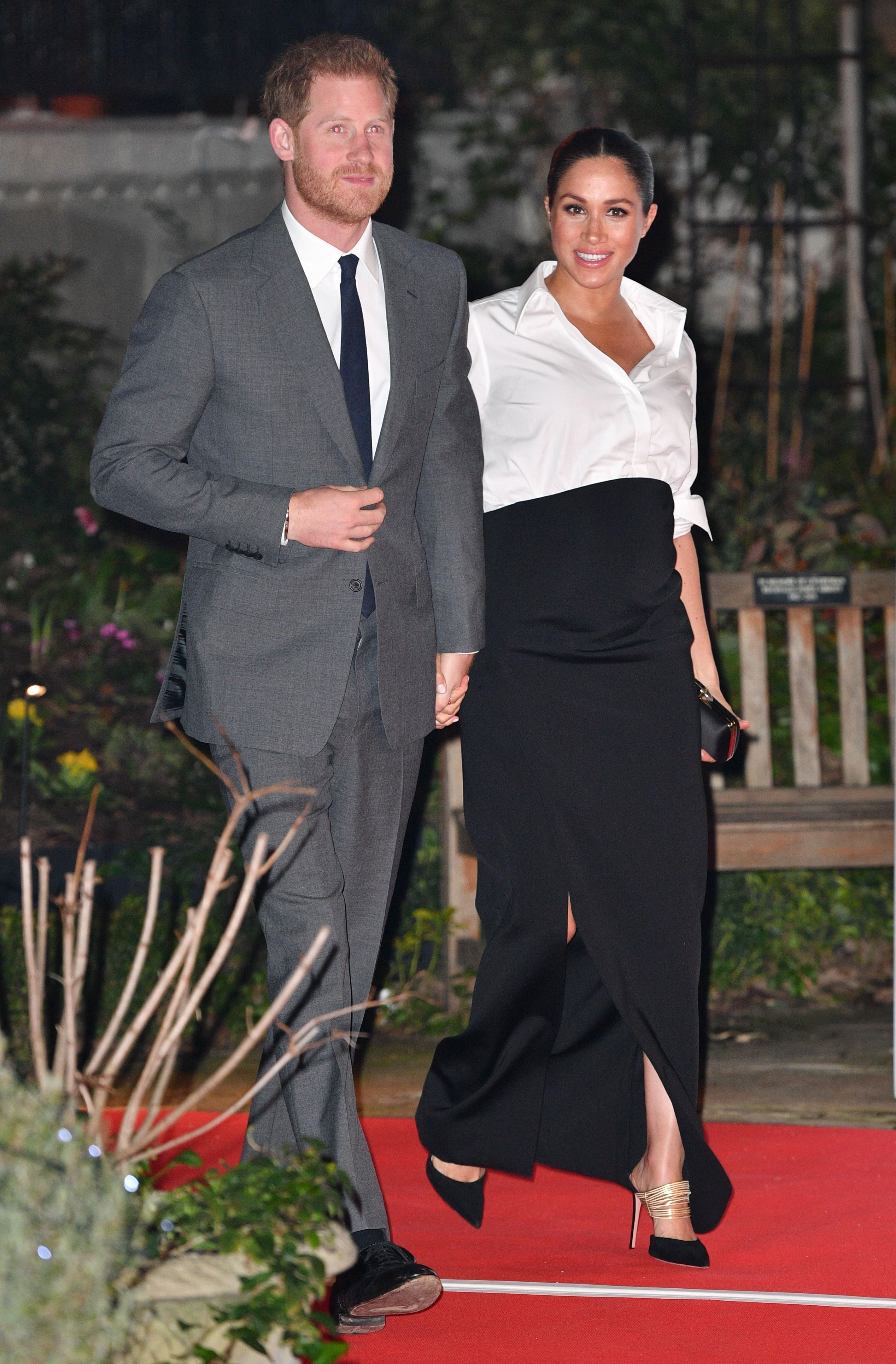 Prince Harry and Duchess Meghan arrive at the Endeavour Fund Awards in London on Feb. 7, 2019.