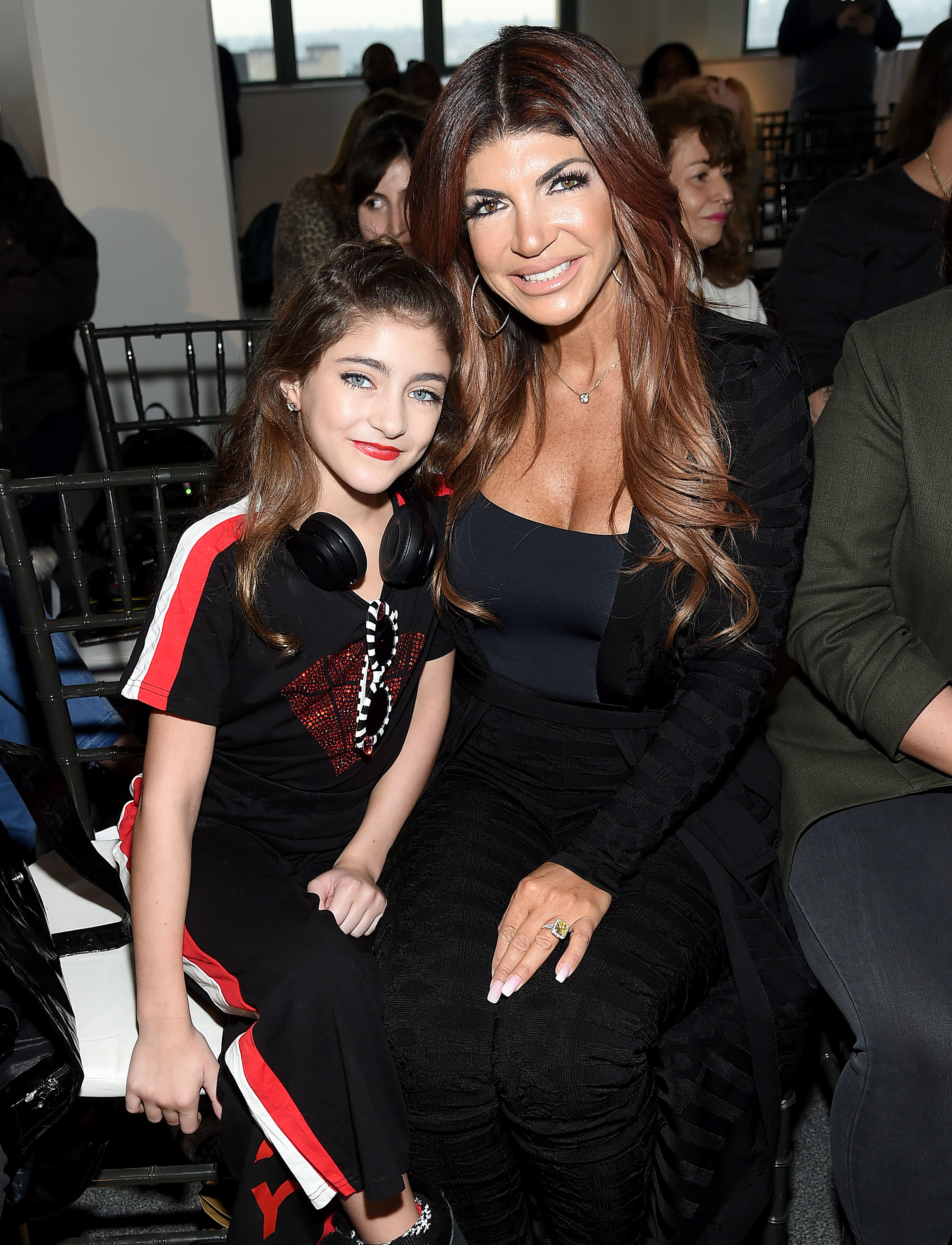Audriana Giudice and Teresa Giudice attend the Cosmopolitan NYFW fashion show during New York Fashion Week at Tribeca 360 in New York City on Feb. 8, 2019.
