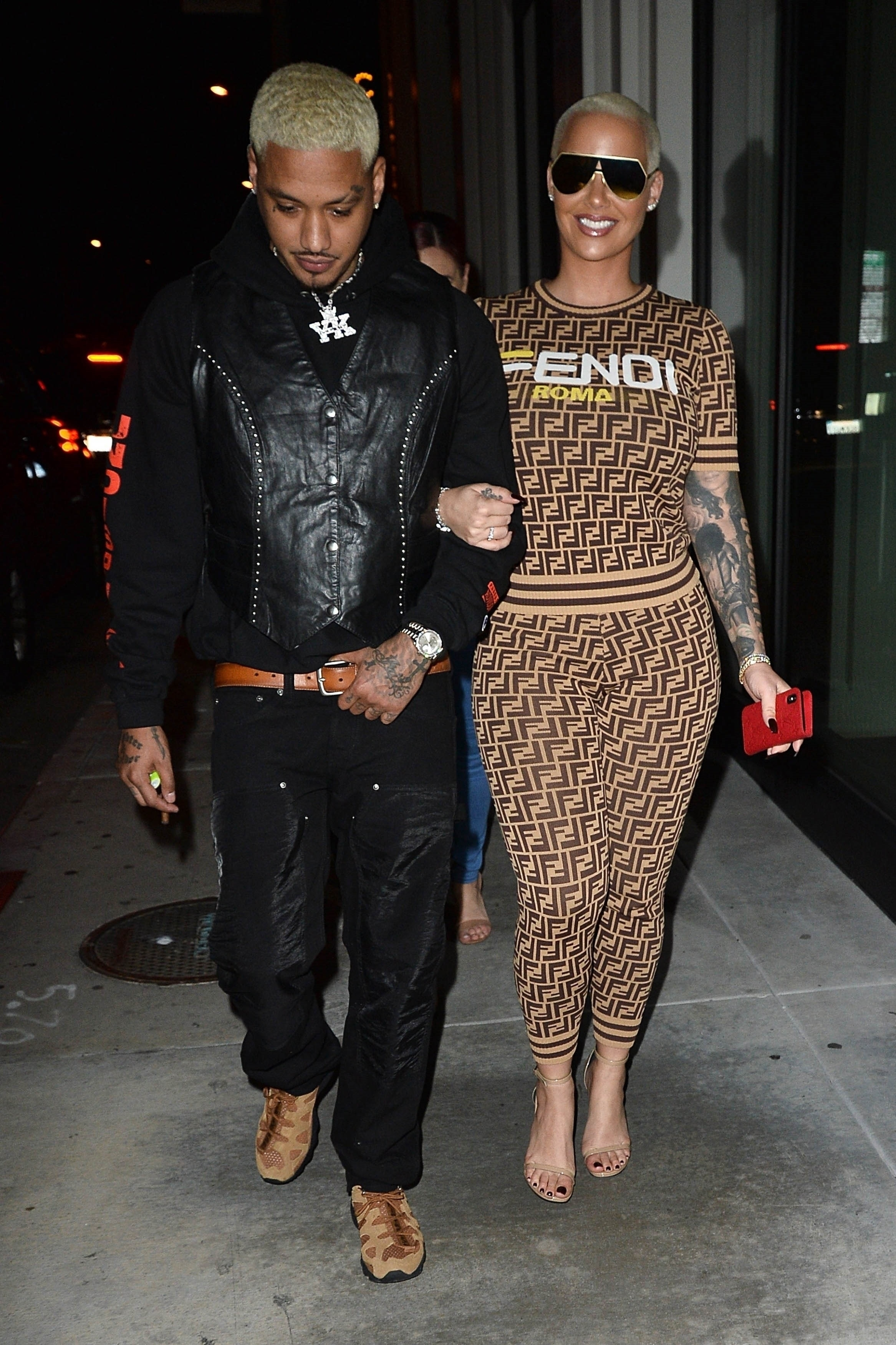 Amber Rose shows off her love for Fendi while out with her boyfriend at the Def Jam Grammy Party in Los Angeles on Feb. 8, 2019.  Pictured: Amber Rose  BACKGRID USA 8 FEBRUARY 2019   BYLINE MUST READ: All Access / BACKGRID  USA: +1 310 798 9111 / usasales@backgrid.com  UK: +44 208 344 2007 / uksales@backgrid.com  *UK Clients   Pictures Containing Children Please Pixelate Face Prior To Publication*