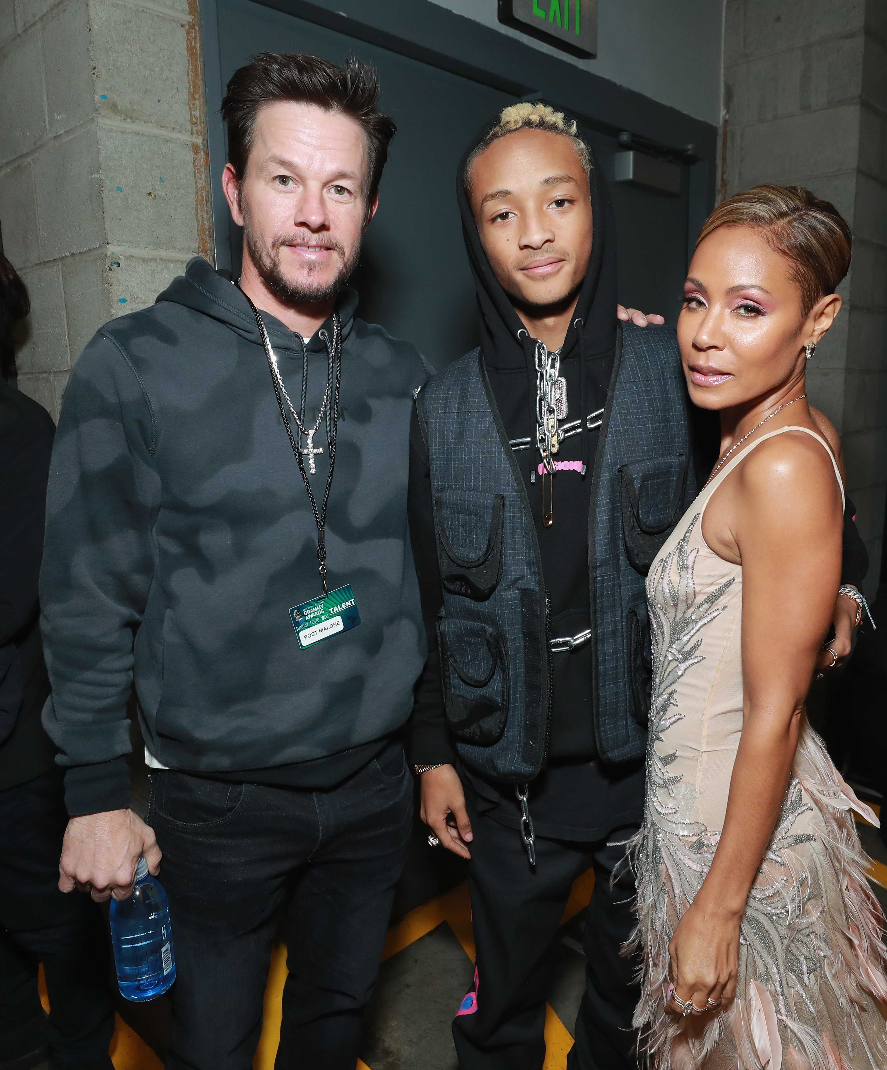 Mark Wahlberg, Jaden Smith and Jada Pinkett Smith pose backstage during the 61st Annual Grammy Awards in Los Angeles on Feb. 10, 2019.