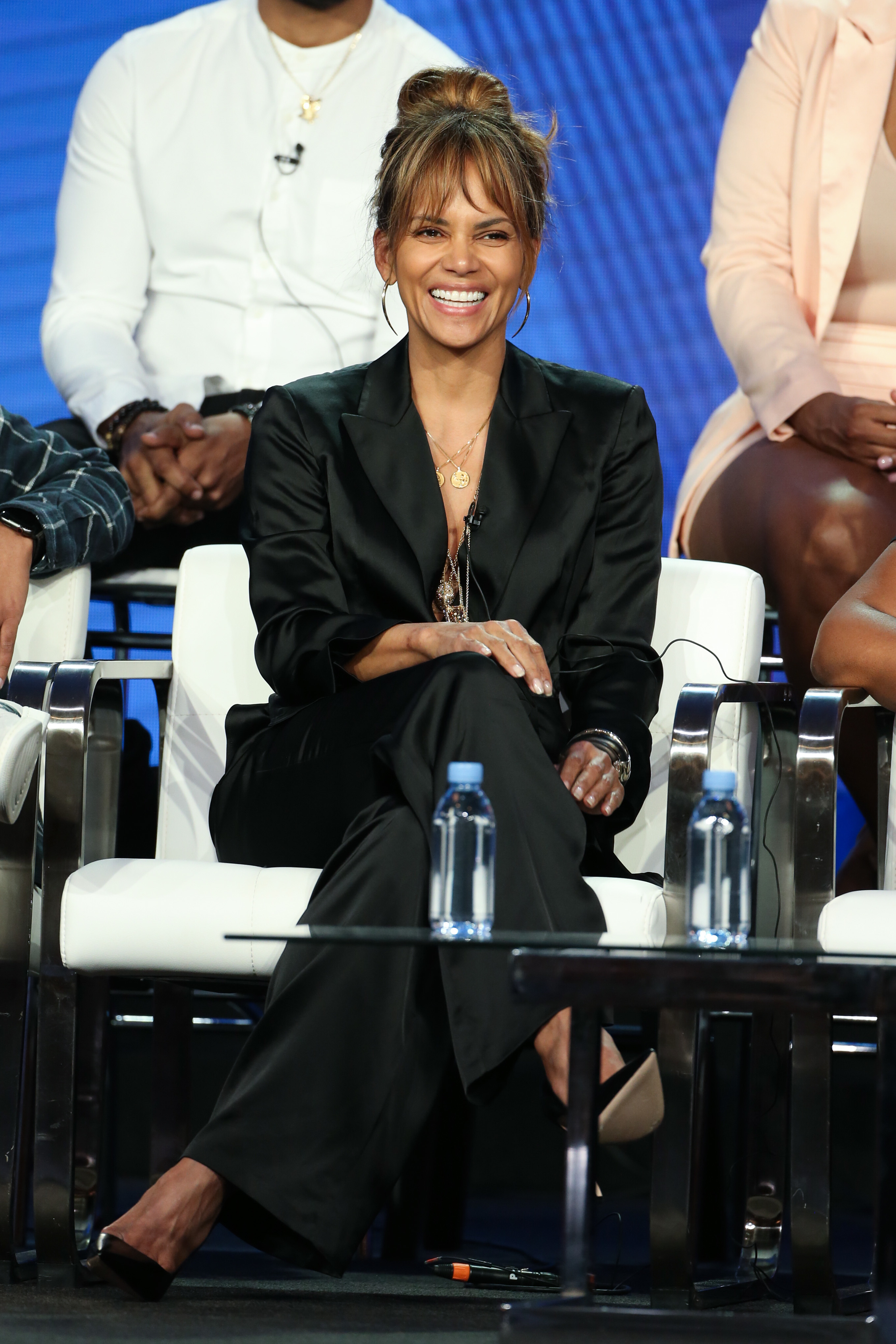 "Halle Berry appears at the BET ""Boomerang"" TV Show Panel at the TCA Winter Press Tour in Los Angeles on Feb. 11, 2019."