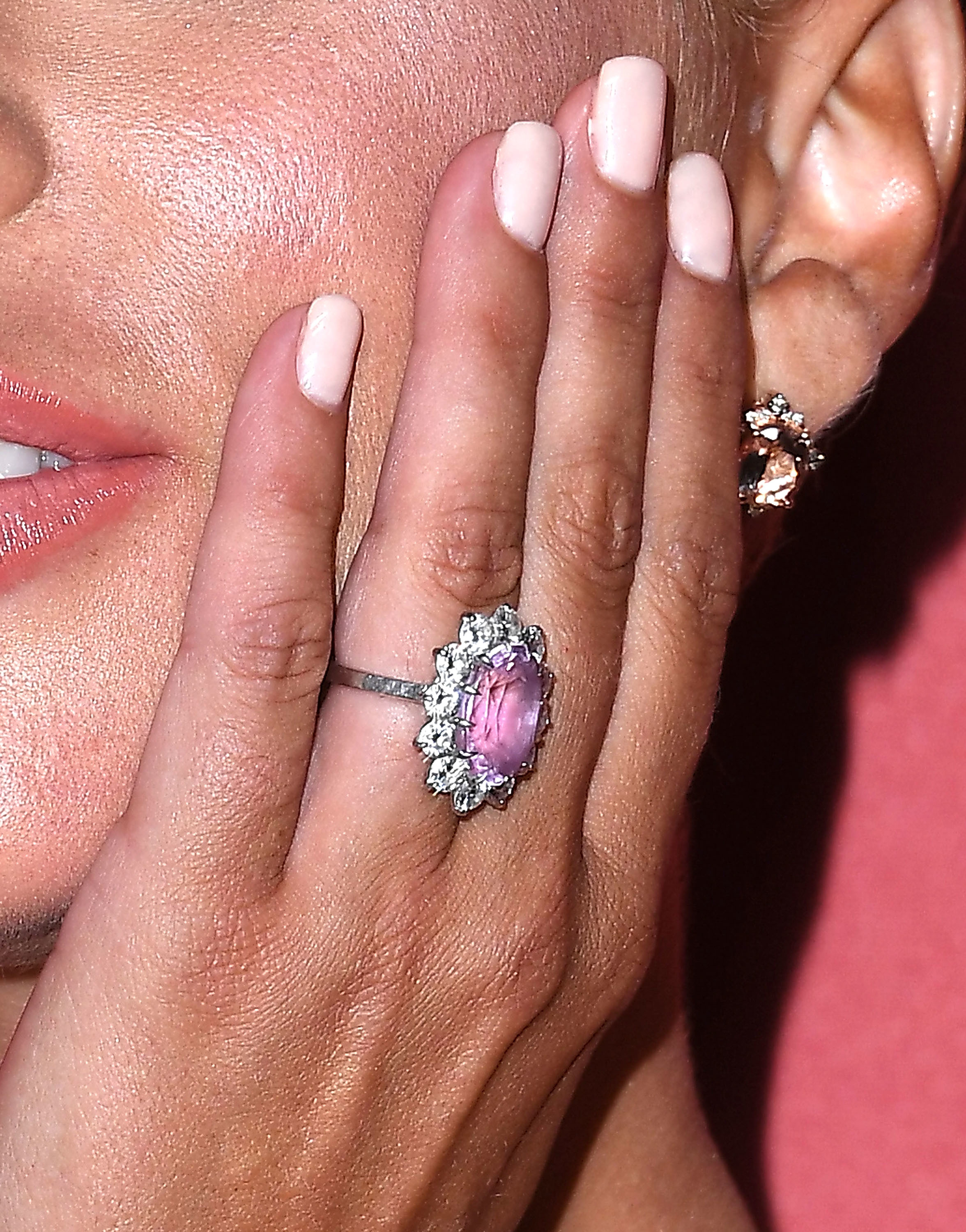 Lady Gaga shows off her engagement ring from Christian Carino as she arrives at the SAG AFTRA Foundation's Third Annual Patron of the Artists Awards at the Wallis Annenberg Center for the Performing Arts in Beverly Hills on Nov. 8, 2018.