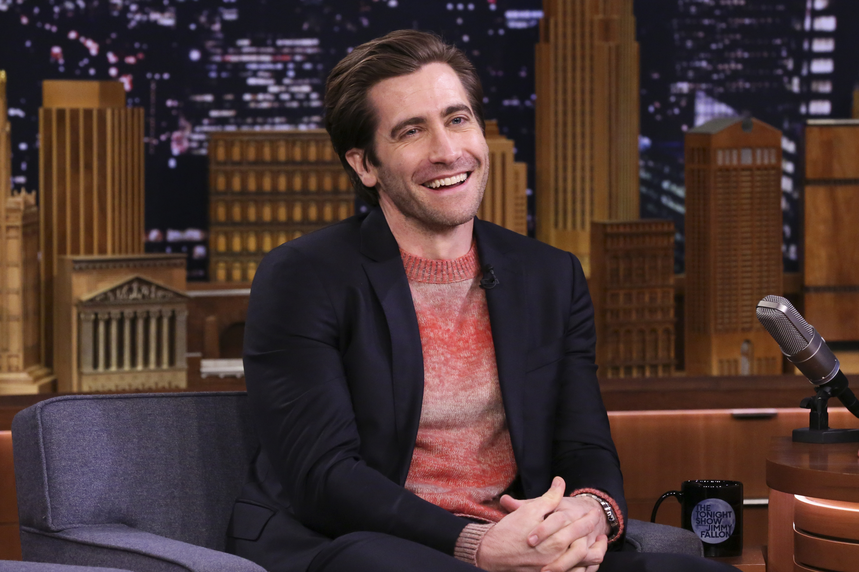 "Jake Gyllenhaal appears during an interview  on ""The Tonight Show with Jimmy Fallon"" on Feb. 19, 2019,"