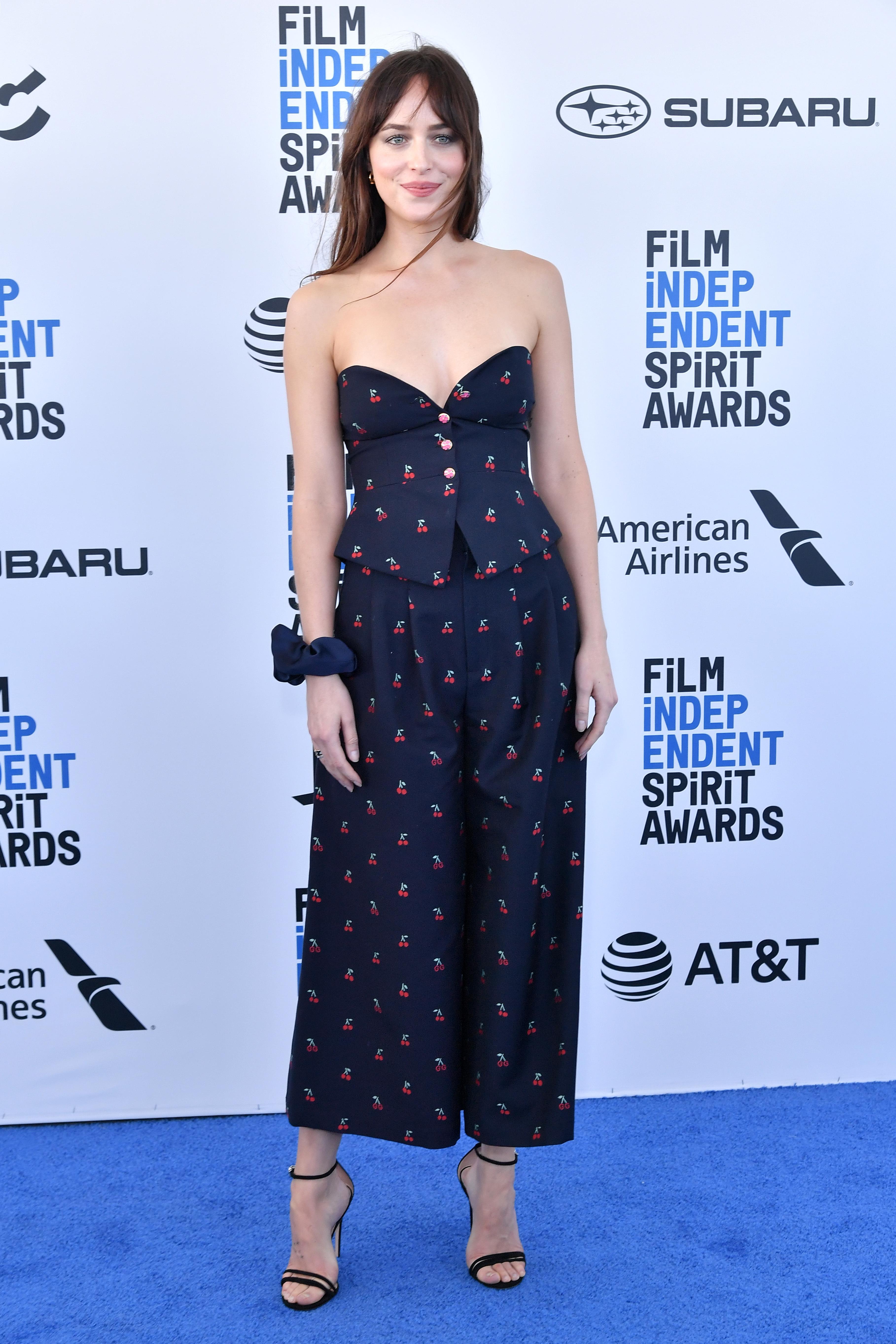 Dakota Johnson attends the 34th Film Independent Spirit Awards in Santa Monica, Calif., on Feb. 23, 2019.