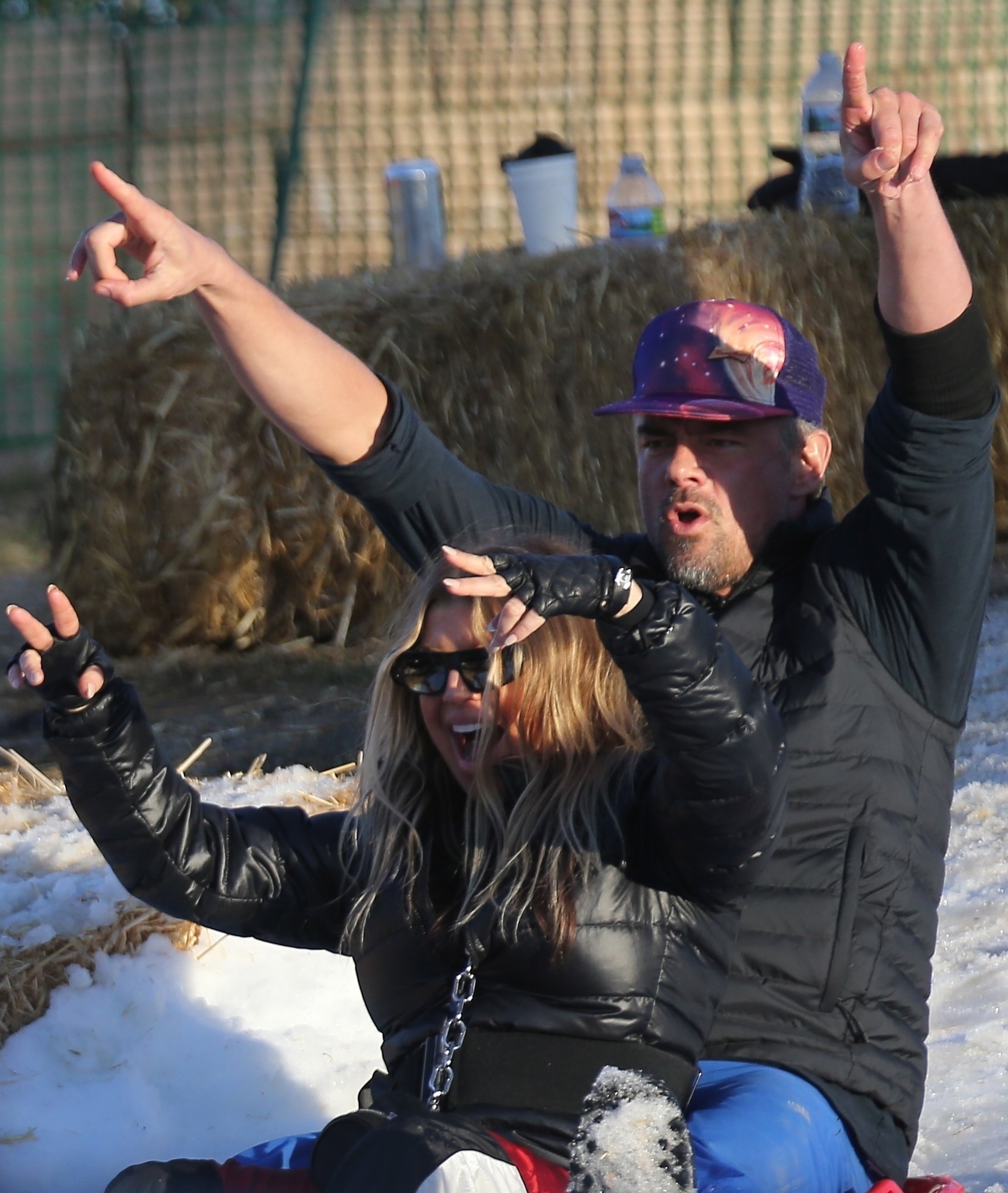 Fergie and Josh Duhamel went sledding at their son Axl's pre school in Los Angeles, Calif., on Feb. 23, 2019.  Pictured: Fergie, Josh Duhamel!  BACKGRID USA 23 FEBRUARY 2019   BYLINE MUST READ: WAGO / BACKGRID  USA: +1 310 798 9111 / usasales@backgrid.com  UK: +44 208 344 2007 / uksales@backgrid.com  *UK Clients   Pictures Containing Children Please Pixelate Face Prior To Publication*