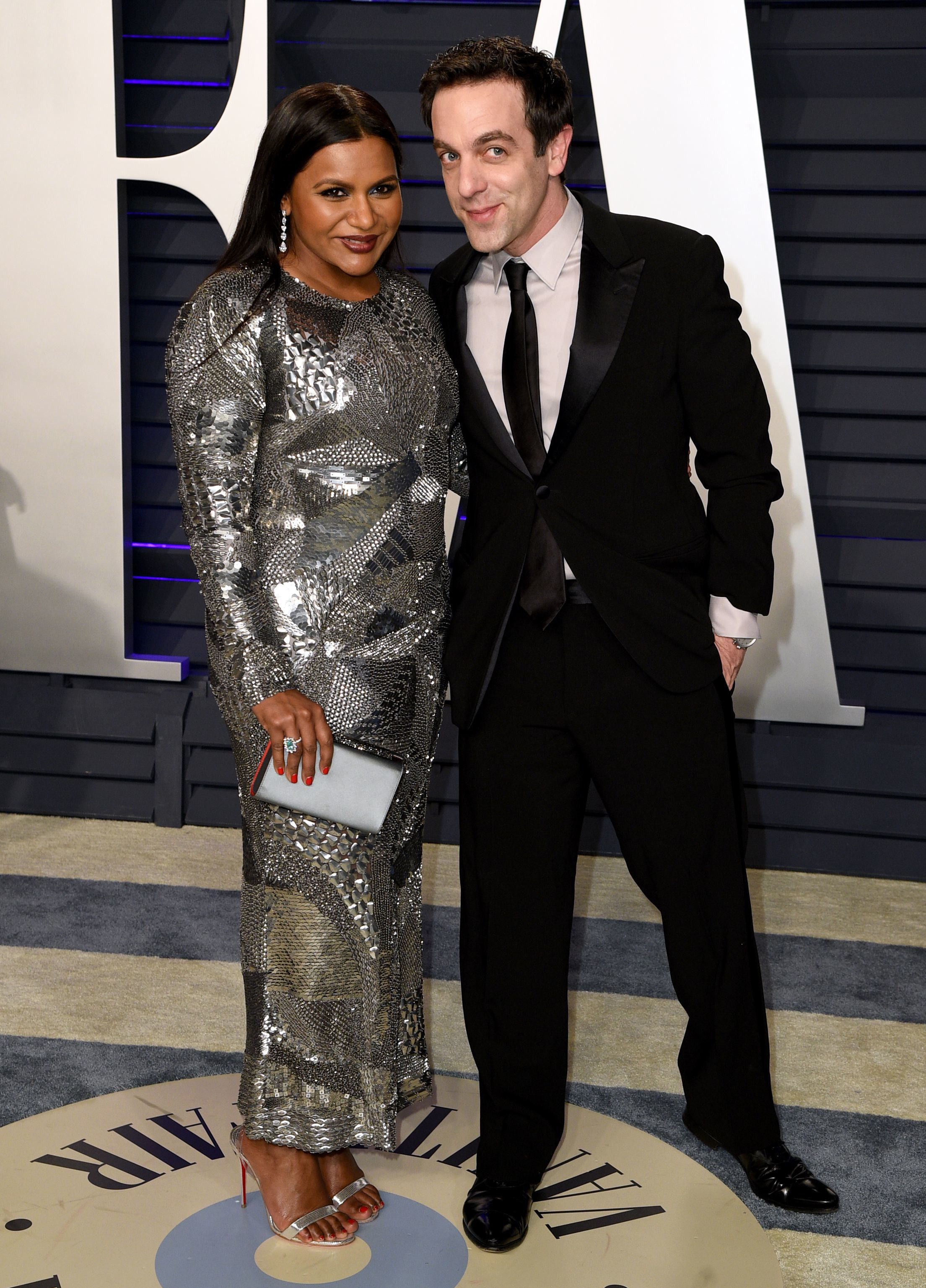 Mindy Kaling and B.J. Novak attend the Vanity Fair Oscar Party in Beverly Hills on Feb. 24, 2019.