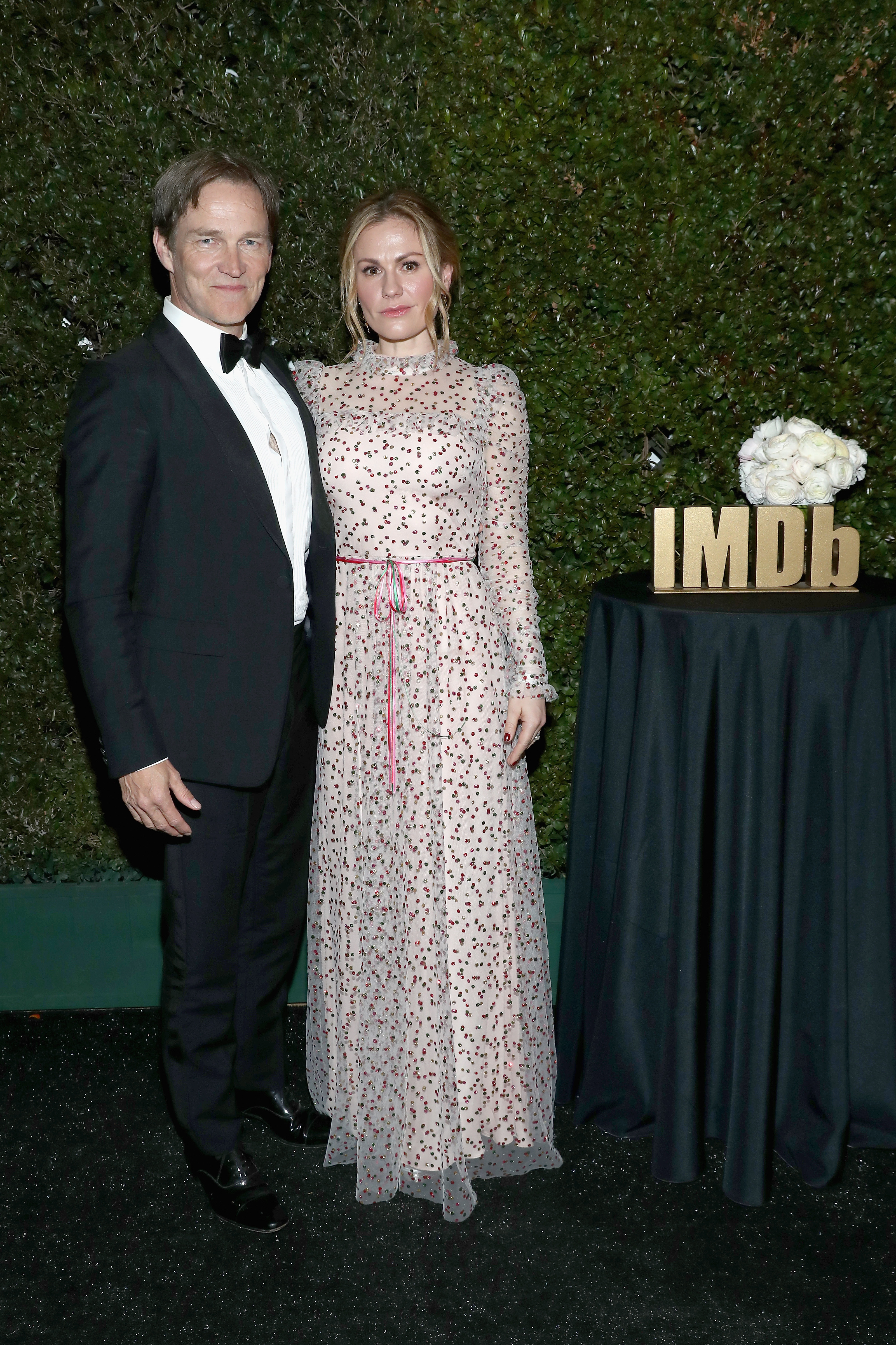 Stephen Moyer and Anna Paquin attend IMDb LIVE at the Elton John AIDS Foundation Academy Awards Viewing Party in West Hollywood on Feb. 24, 2019.