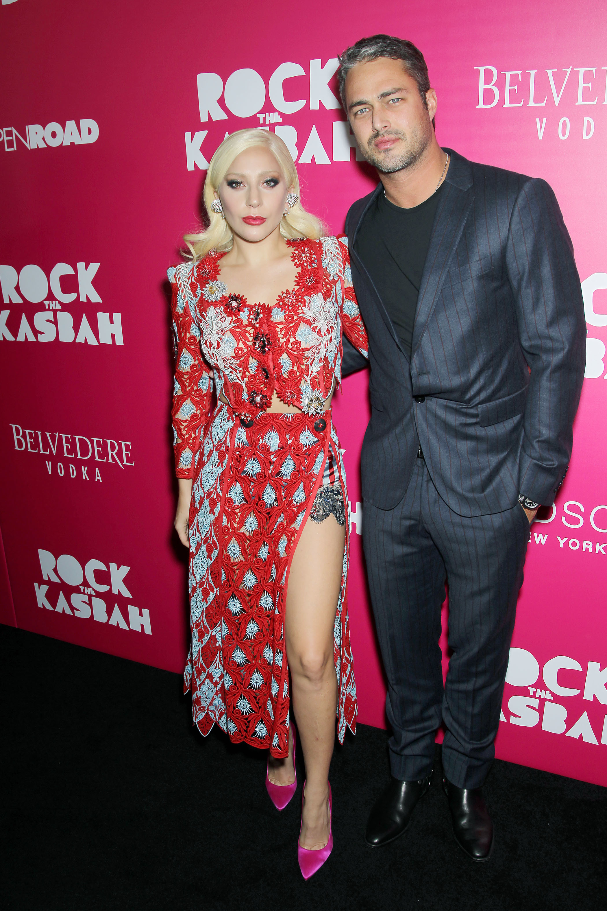 """Lady Gaga and Taylor Kinney attend the premiere of """"Rock the Kasbah"""" in New York City on Oct. 19, 2015."""