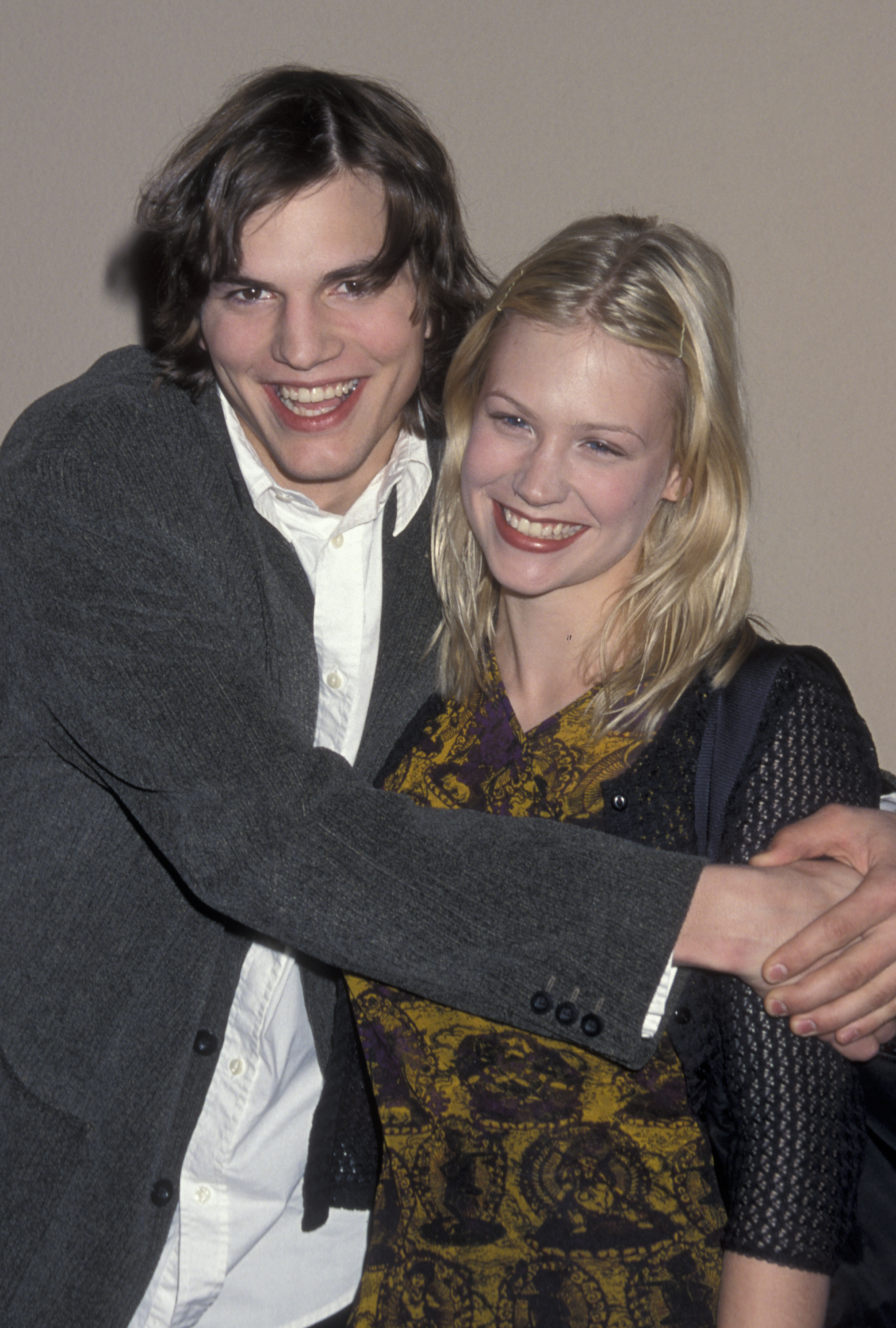 Ashton Kutcher and January Jones attend FOX TV All Star Party at Perino's Restaurant in Los Angeles on Jan. 16, 1999.