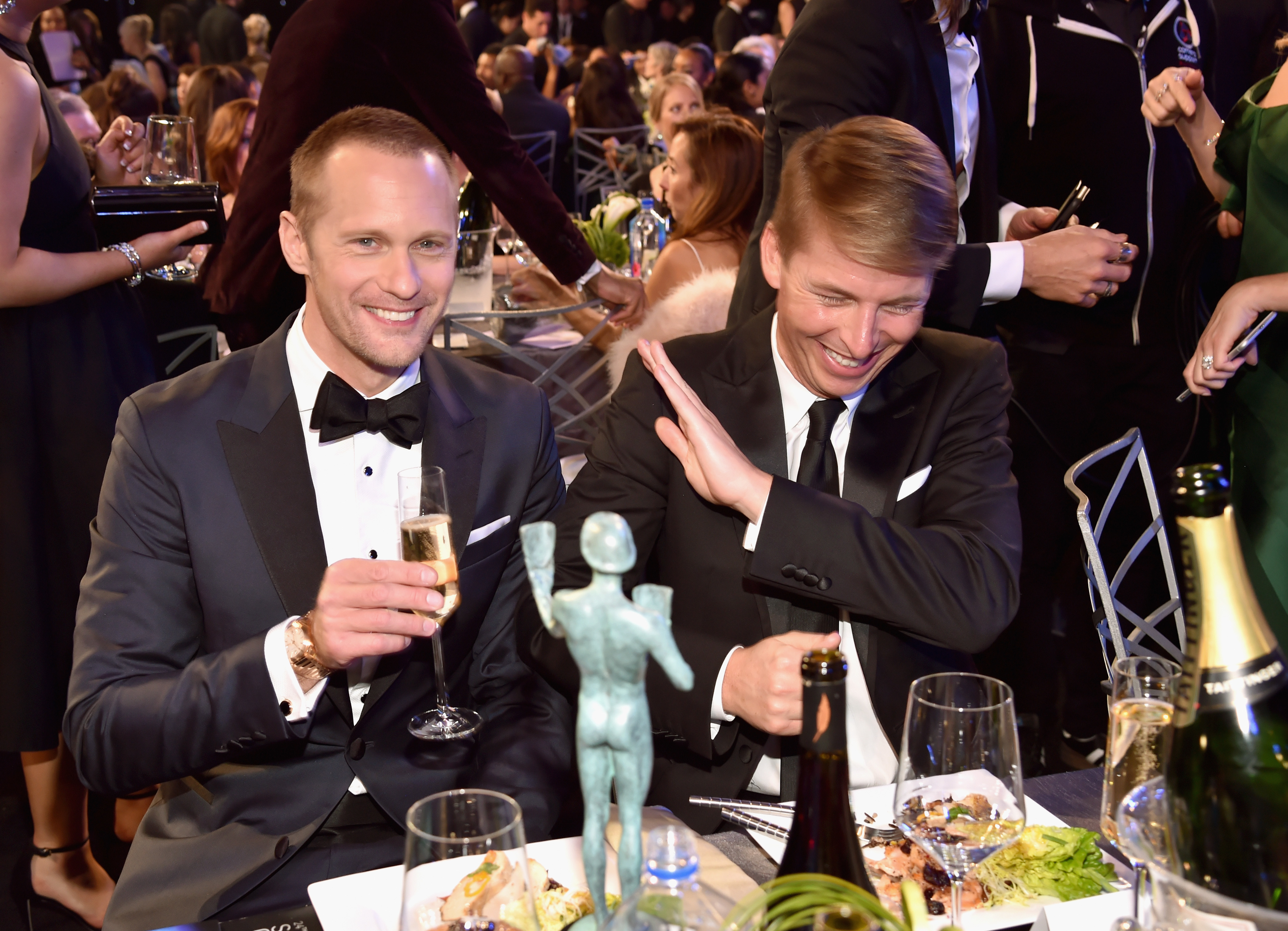 Alexander Skarsgard and Jack McBrayer attend the 24th Annual Screen Actors Guild Awards at The Shrine Auditorium in Los Angeles on Jan. 21, 2018.