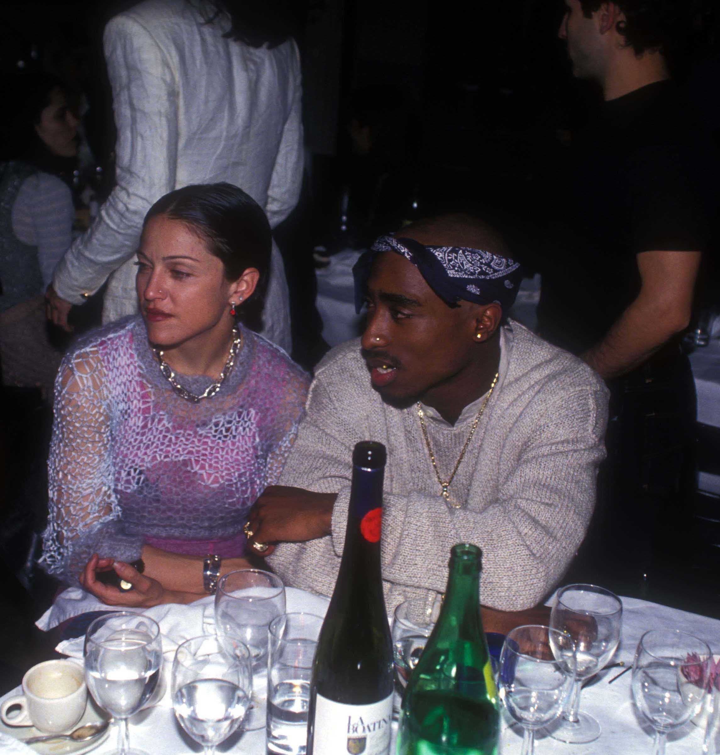 Madonna and Tupac Shakur at the Interview Magazine party in New York City on March 1, 1994.
