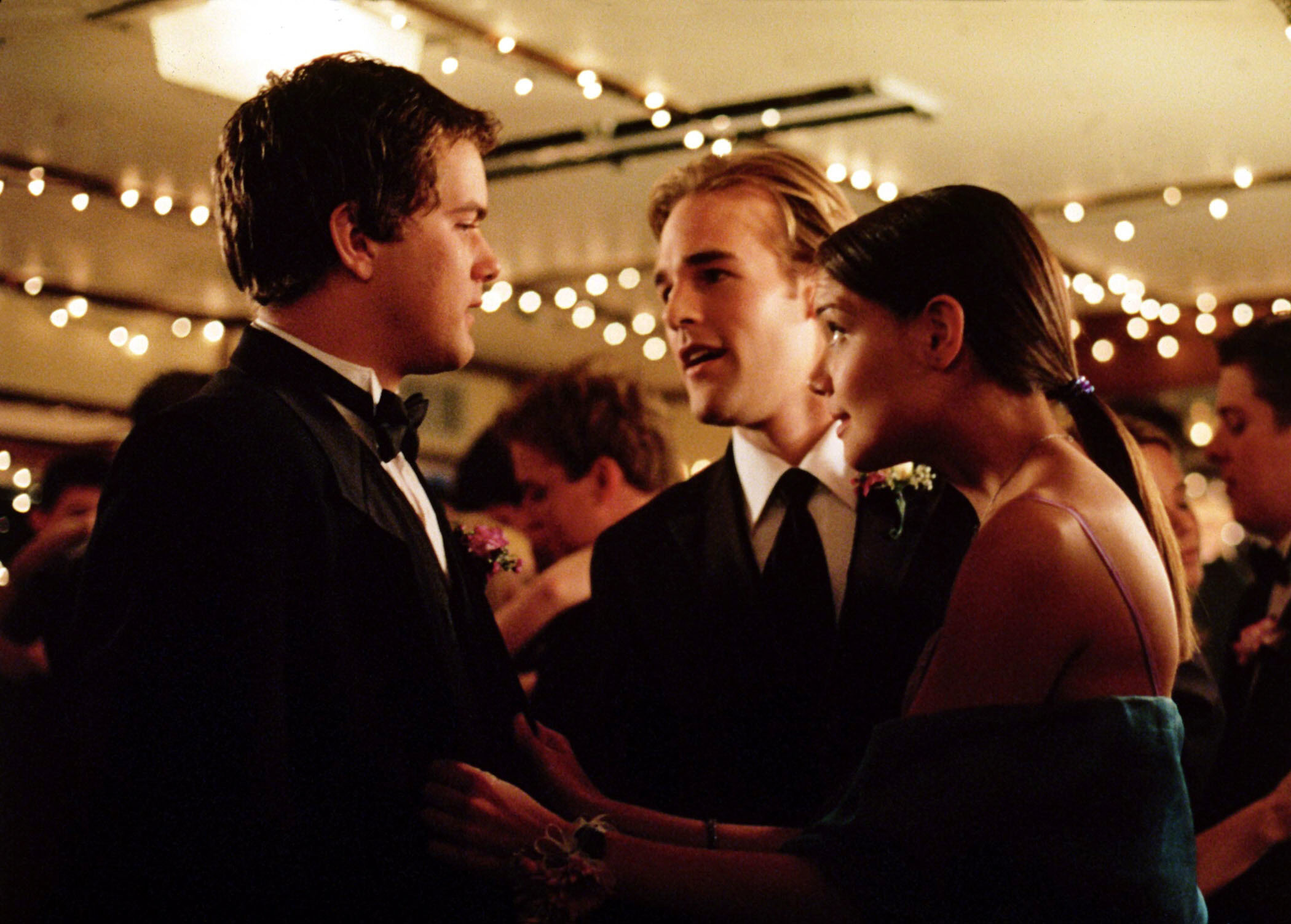 "Joshua Jackson as Pacey Witter, James Van Der Beek as Dawson Leery and Katie Holmes as Joey Potter in ""Dawson's Creek."""