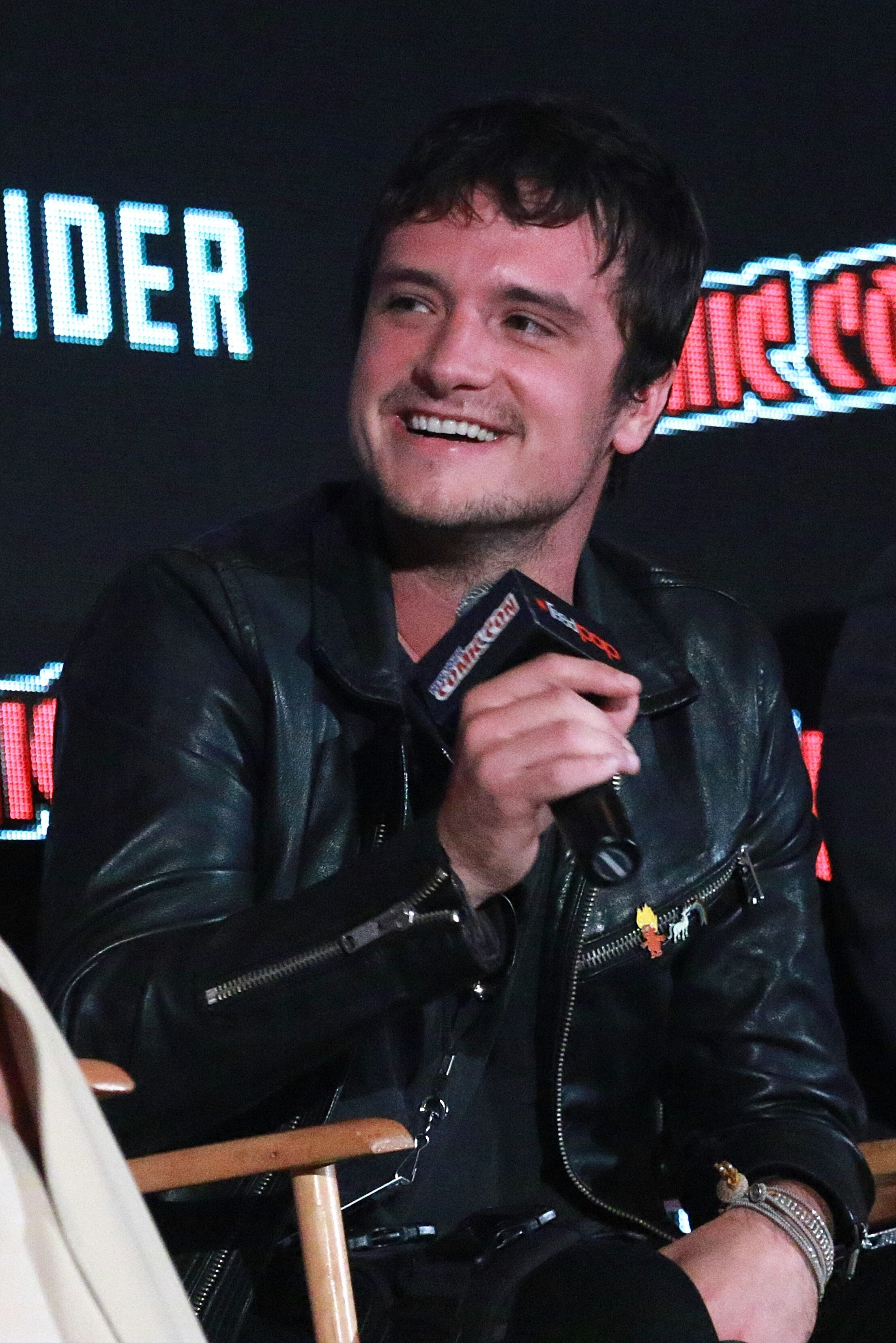"Josh Hutcherson speaks at the ""Future Man"" TV show panel at New York Comic Con on Oct. 6, 2017."