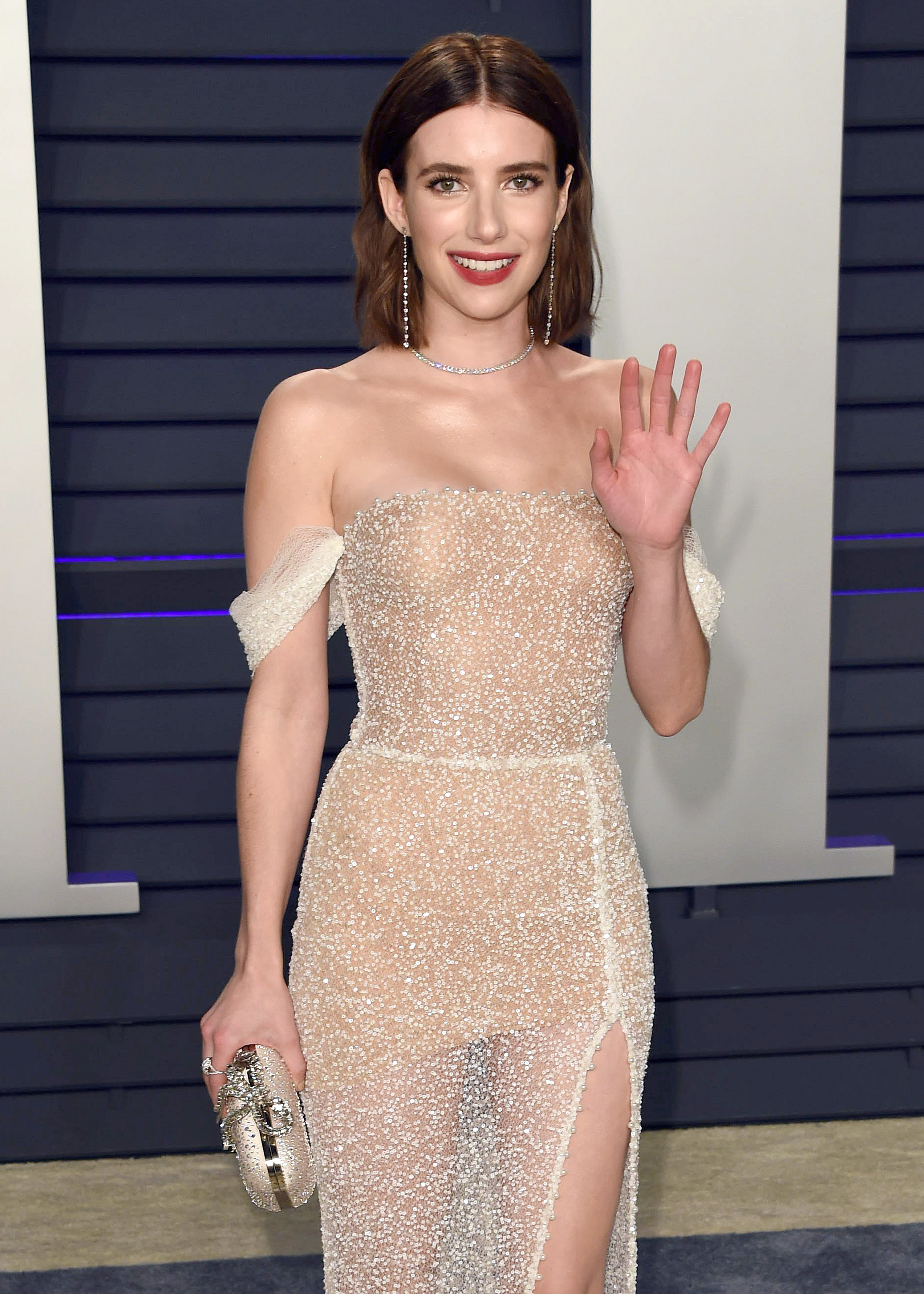 Emma Roberts attends the Vanity Fair Oscar Party in Beverly Hills on Feb. 24, 2019.