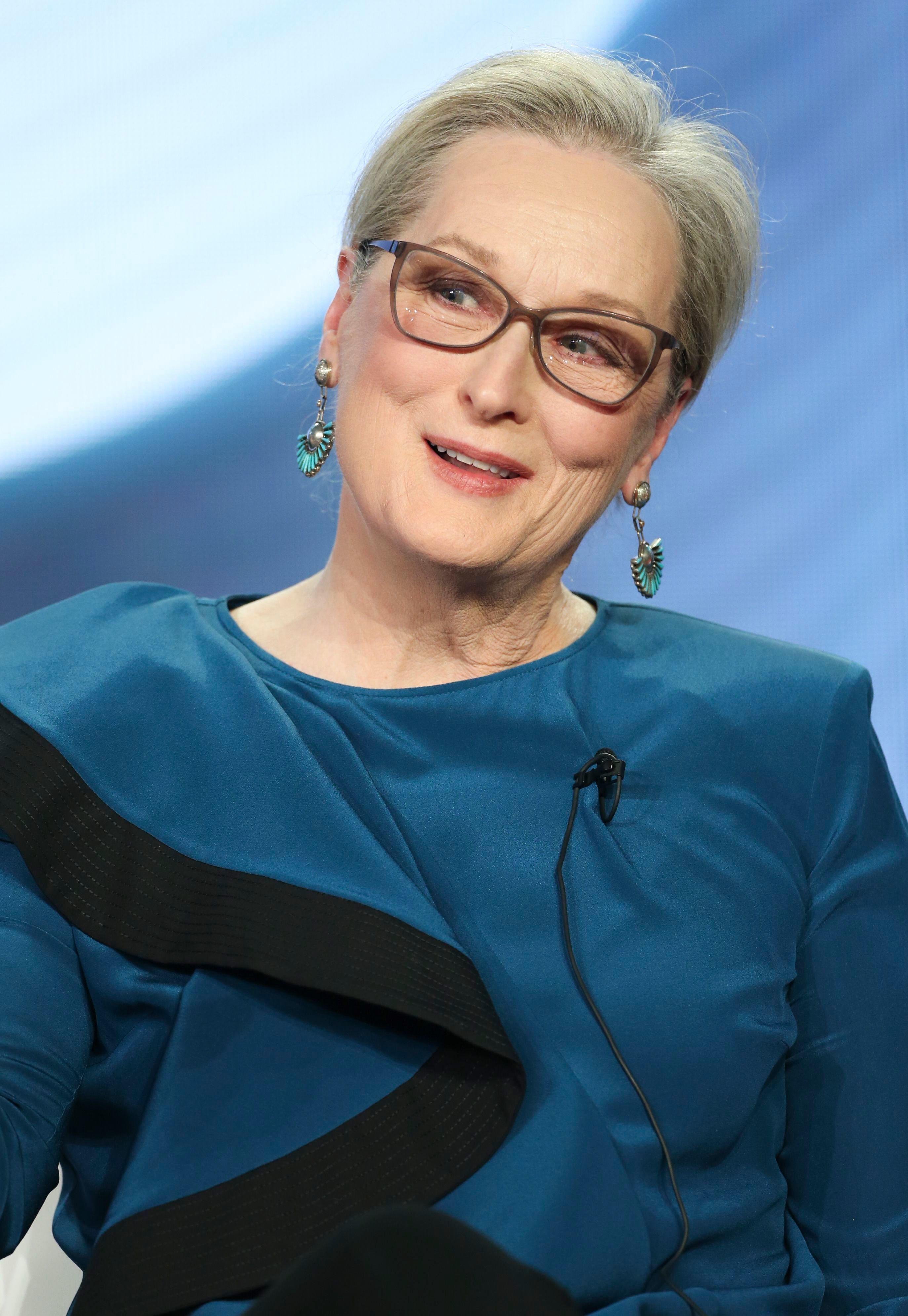 """Meryl Streep speaks at the HBO """"Big Little Lies"""" panel in Los Angeles on Feb. 8, 2019."""