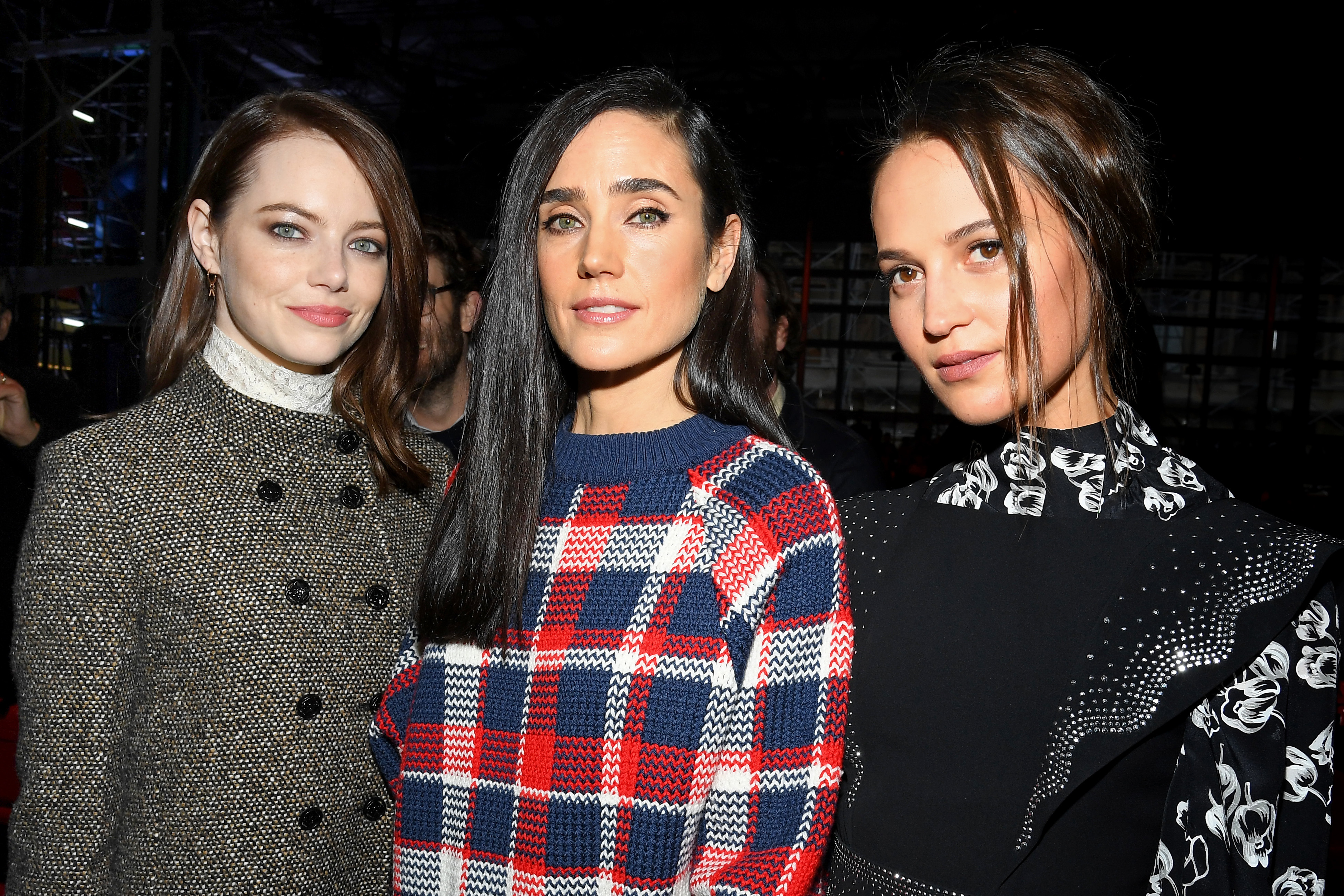 Emma Stone, Jennifer Connelly and Alicia Vikander attend the Louis Vuitton show during Paris Fashion Week on March 5, 2019.