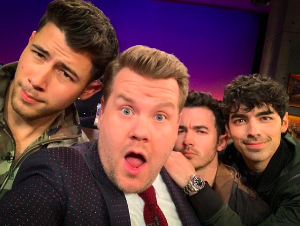 """""""oh hi. ya'll ready for night one of #LateLateJonas?""""   James Corden, who posted this photo on Instagram on March 5, 2019."""