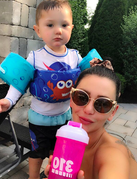 """""""hotoshoot with Bubby... we couldn't choose 💙💙💙💙 #310shake always keeps me energized enough to keep up with Greyson!💪🏼 Go to the @310nutrition link in bio right now, they're having a great deal! And use the code """"310believe"""" for FREE shipping at checkout. #ad #cleaneating #310Lifer""""   JWoww, who posted this selfie with son Greyson on Instagram on  Aug. 27, 2018."""