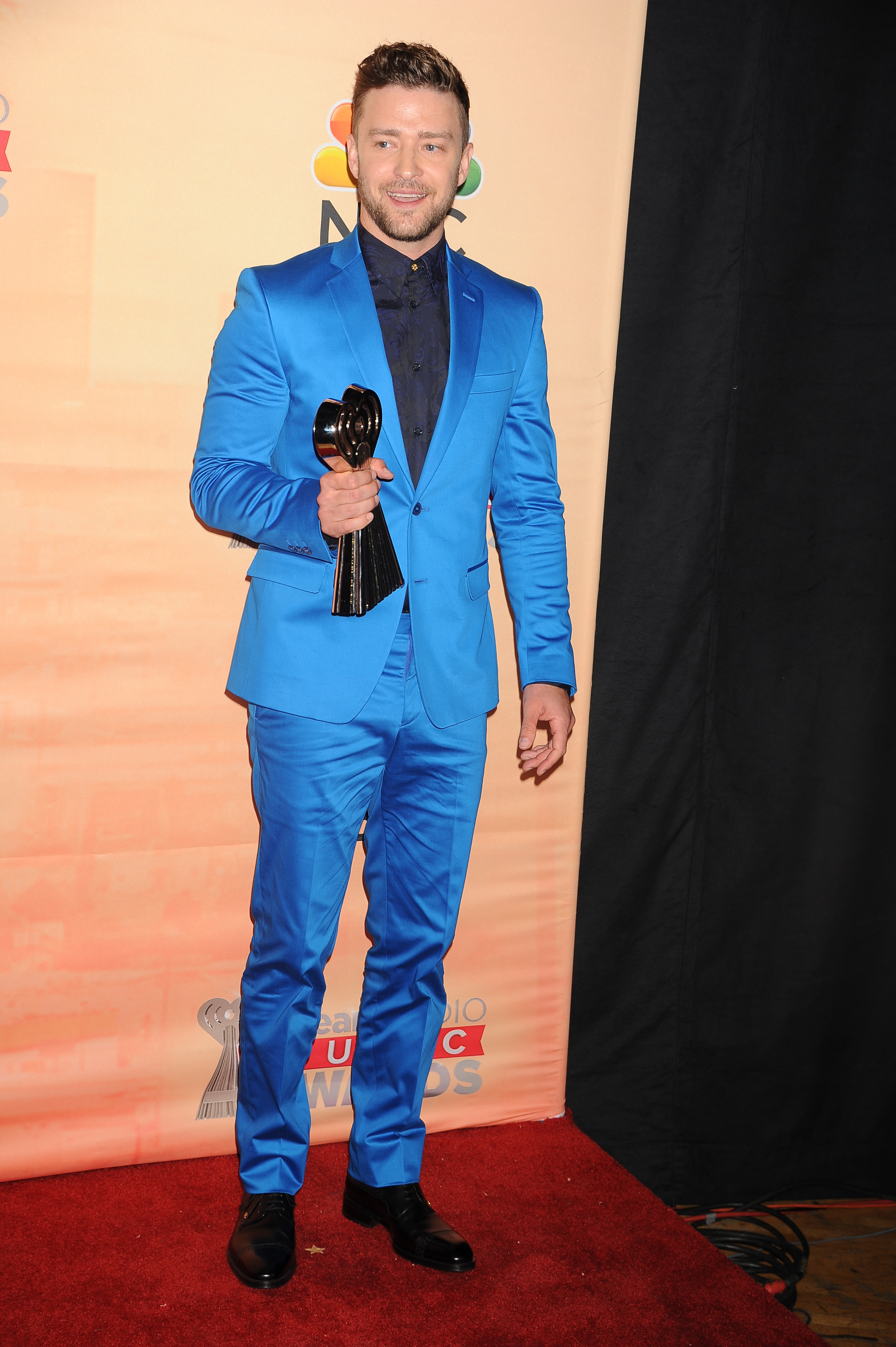 Justin Timberlake arrives at the 2015 iHeartRadio Music Awards held at The Shrine Auditorium in Los Angeles on March 29, 2015.