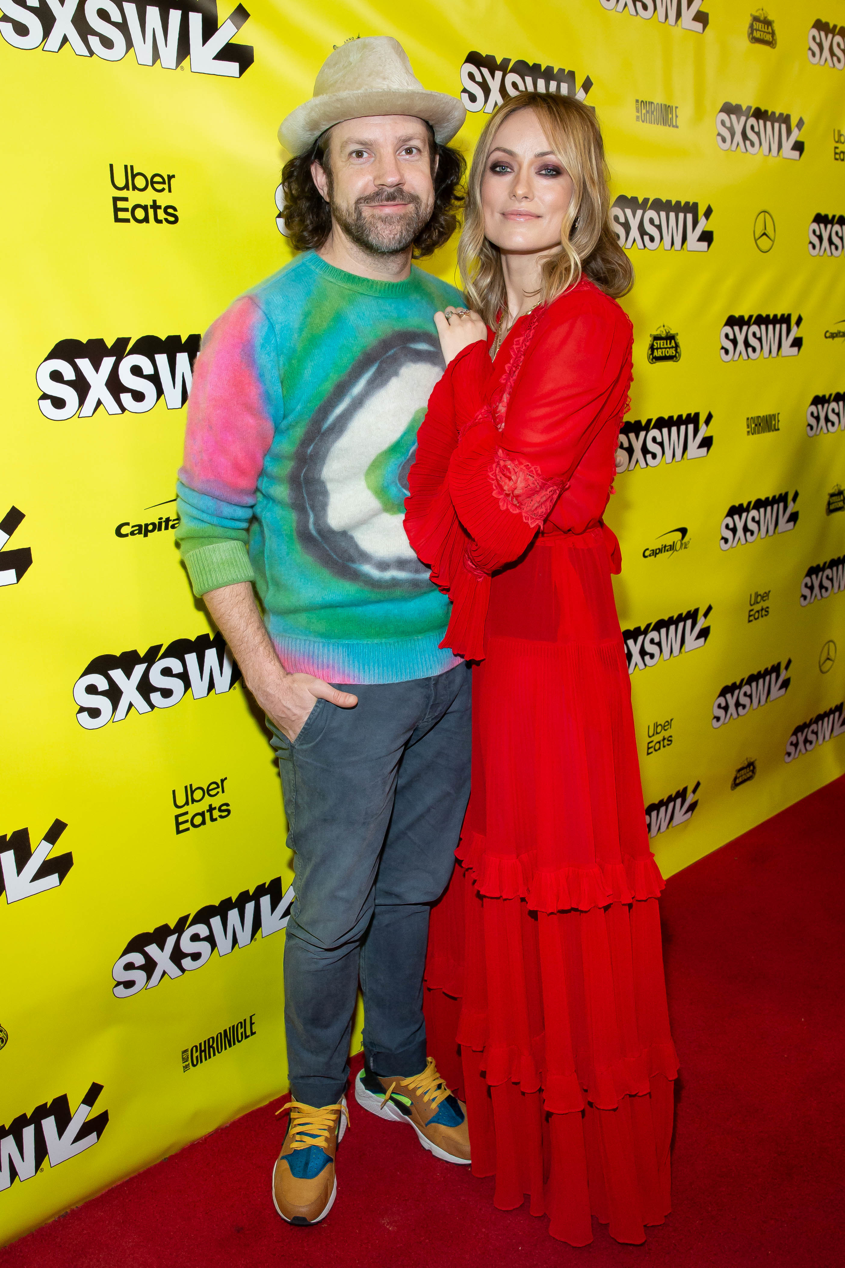 "Jason Sudeikis and Director Olivia Wilde attend the ""Booksmart"" film premiere during the SXSW festival in Austin, Texas, on march 10, 2019."