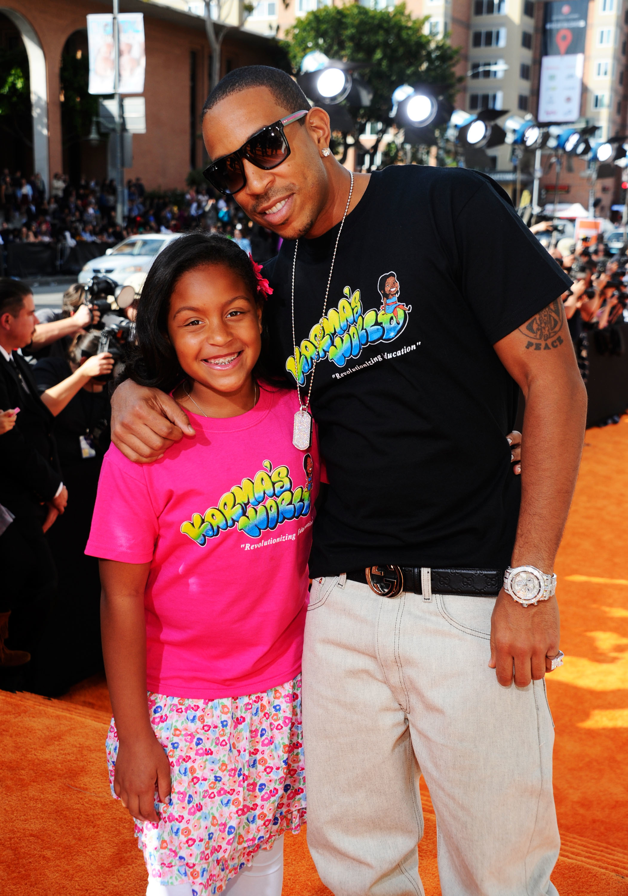 Ludacris and daughter Karma Bridges arrive at Nickelodeon's 25th Annual Kids' Choice Awards held at Galen Center in Los Angeles on March 31, 2012.