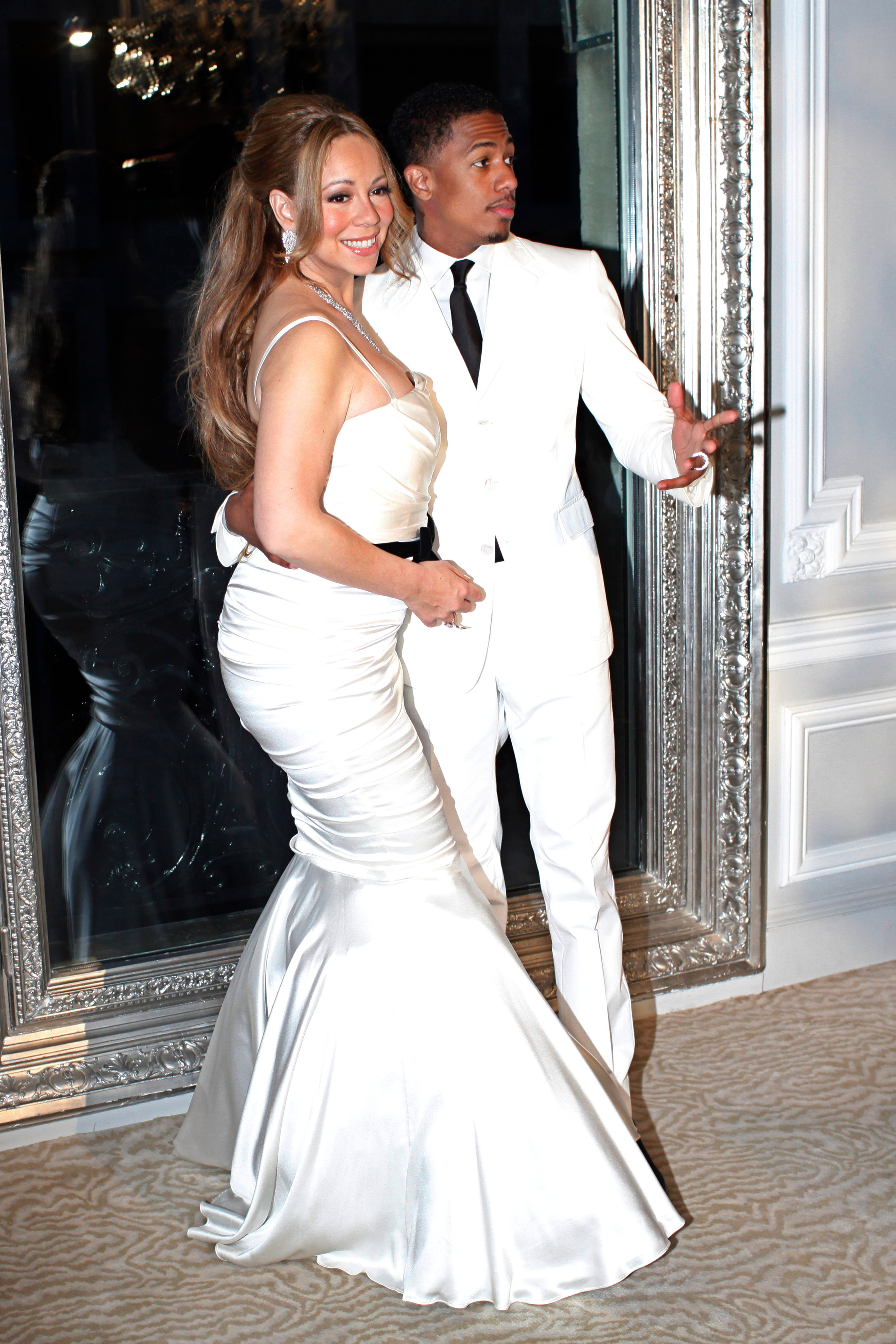 Mariah Carey and Nick Cannon pose after renewing their vows in Paris on April 27, 2012.