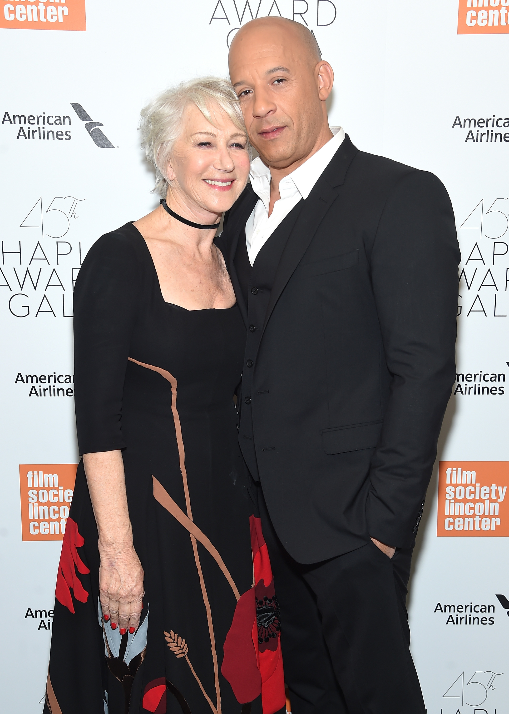 Helen Mirren and Vin Diesel attend the 45th Chaplin Award Gala at Alice Tully Hall at Lincoln Center in New York City on April 30, 2018.