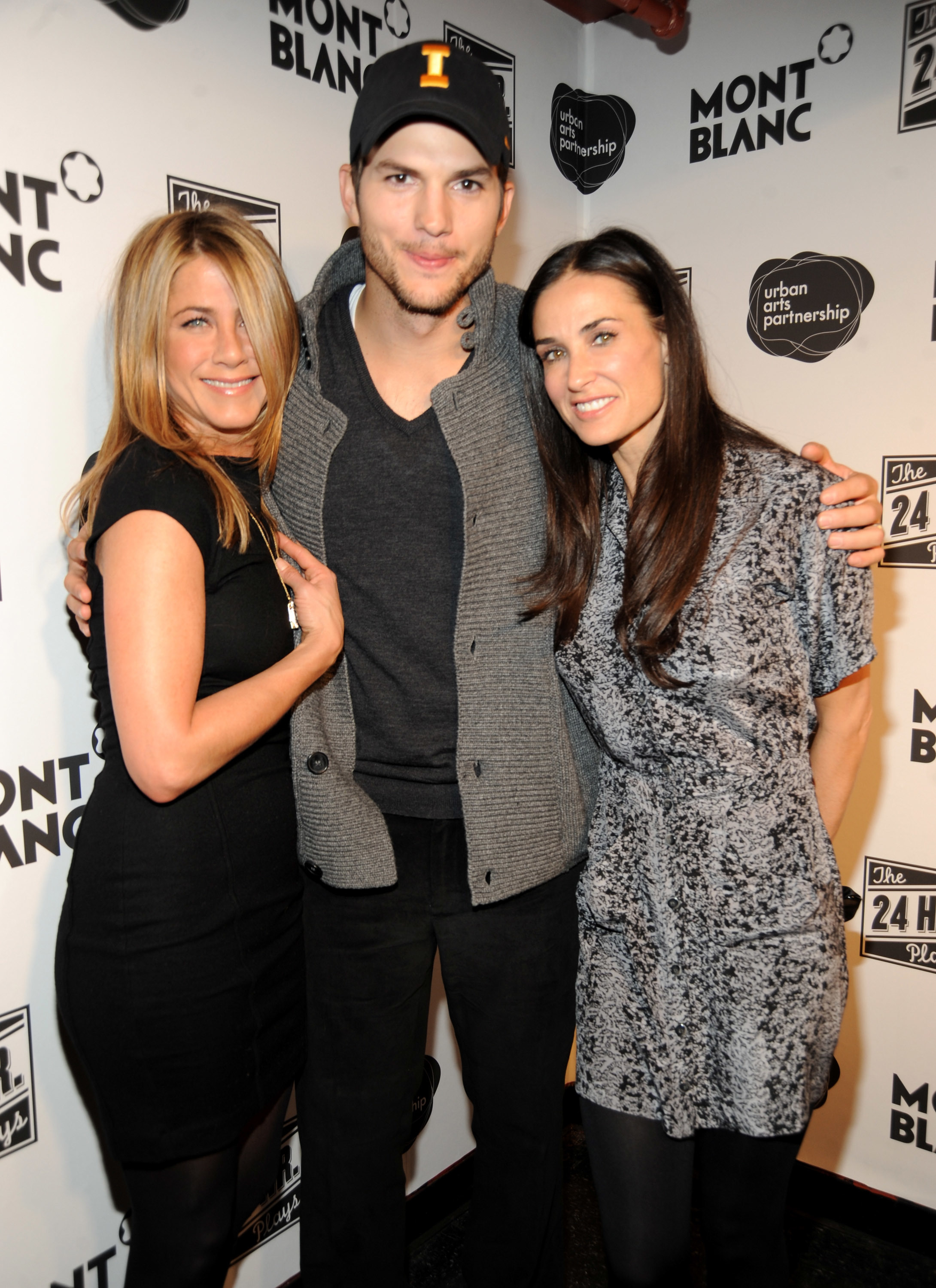 Jennifer Aniston, Ashton Kutcher and Demi Moore walk the red carpet at the 9th Annual 24 Hour Plays on Broadway After Party presented by MONTBLANC at The Opera Ballroom at Crest in New York City on Nov. 10, 2009.