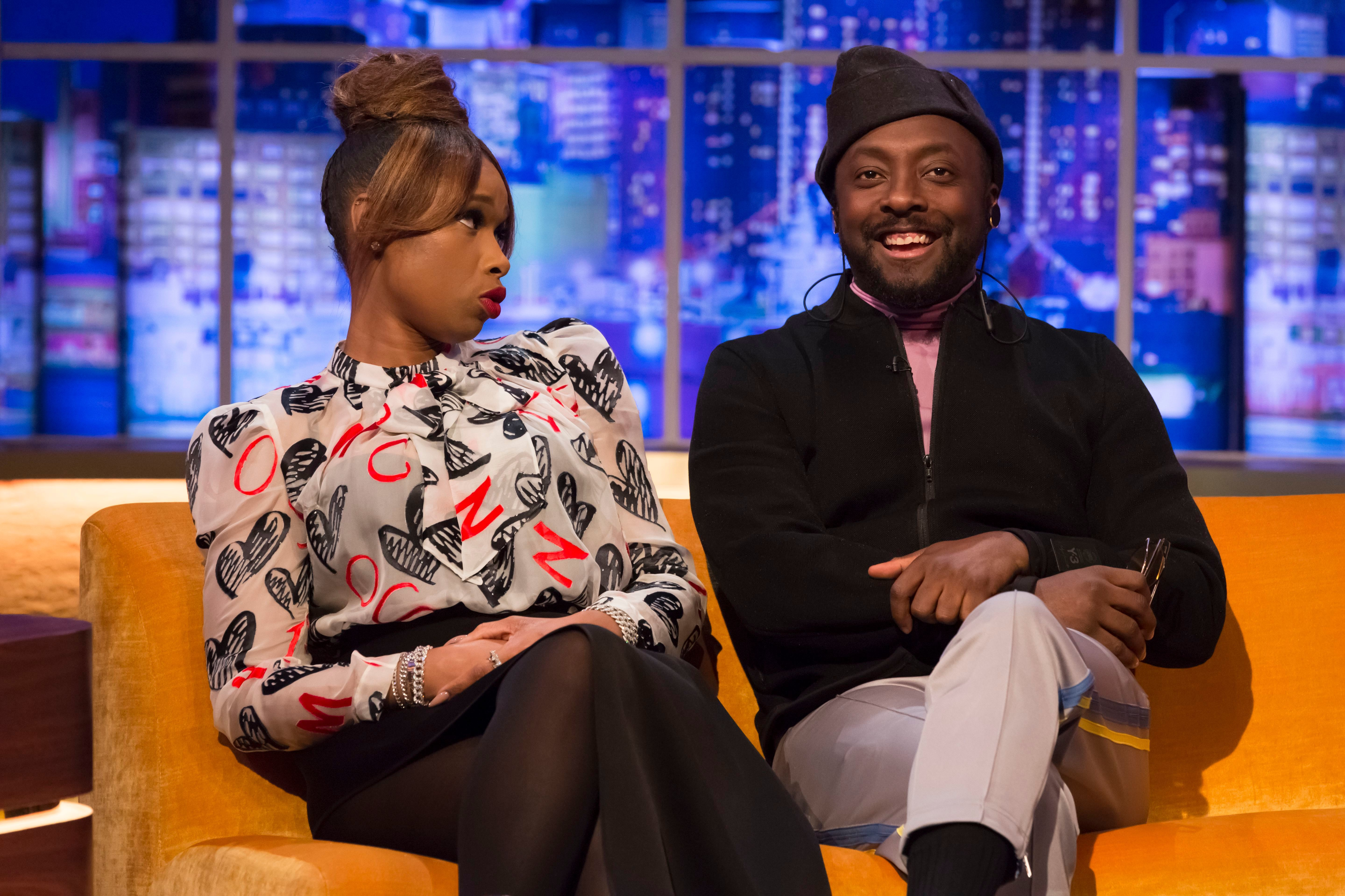 "Jennifer Hudson and Will.i.am appear on ""The Jonathan Ross Show"" TV show in London on March 2, 2019."