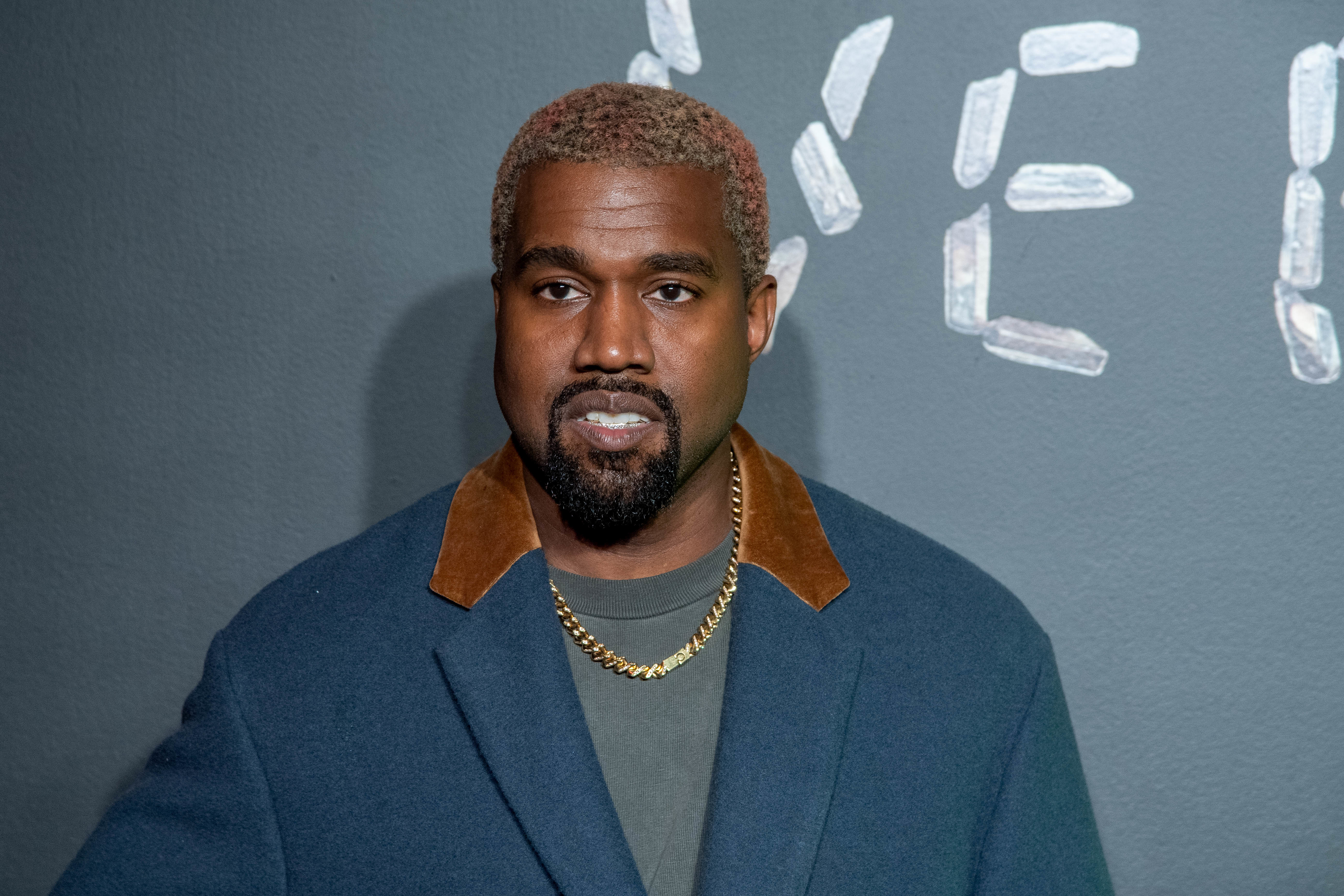 Kanye West attends the the Versace fall 2019 fashion show at the American Stock Exchange Building in lower Manhattan in New York City on Dec. 02, 2018.