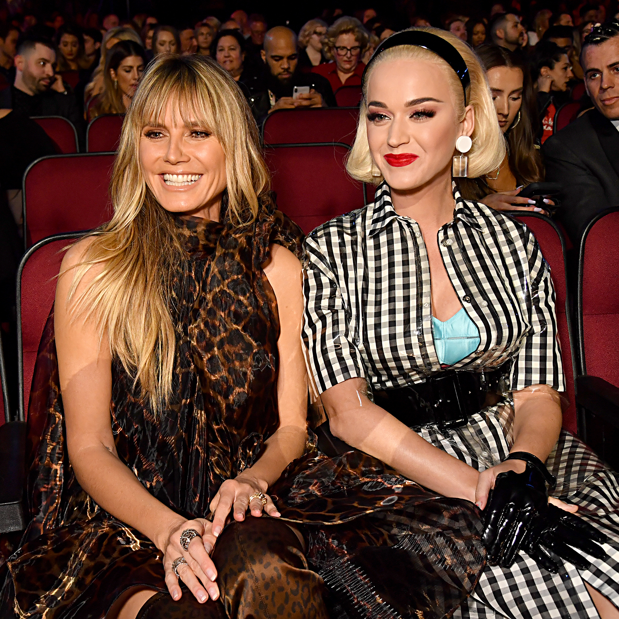Heidi Klum and Katy Perry pose together during the 2019 iHeartRadio Music Awards which broadcasted live on FOX at the Microsoft Theater in Los Angeles on March 14, 2019.