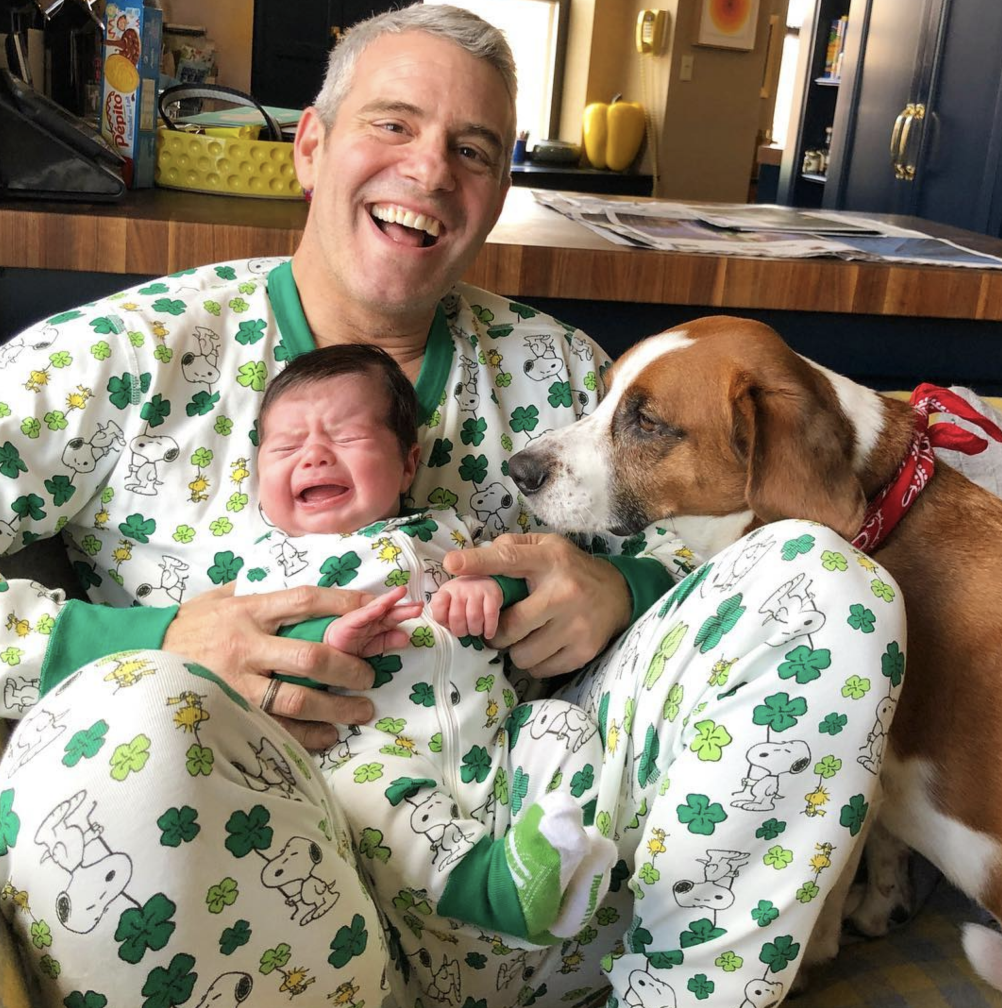 """""""Happy St. Patrick's Day!""""   Andy Cohen, who posted this photo on Instagram with son Benjamin and dog Wacha on March 17, 2019"""