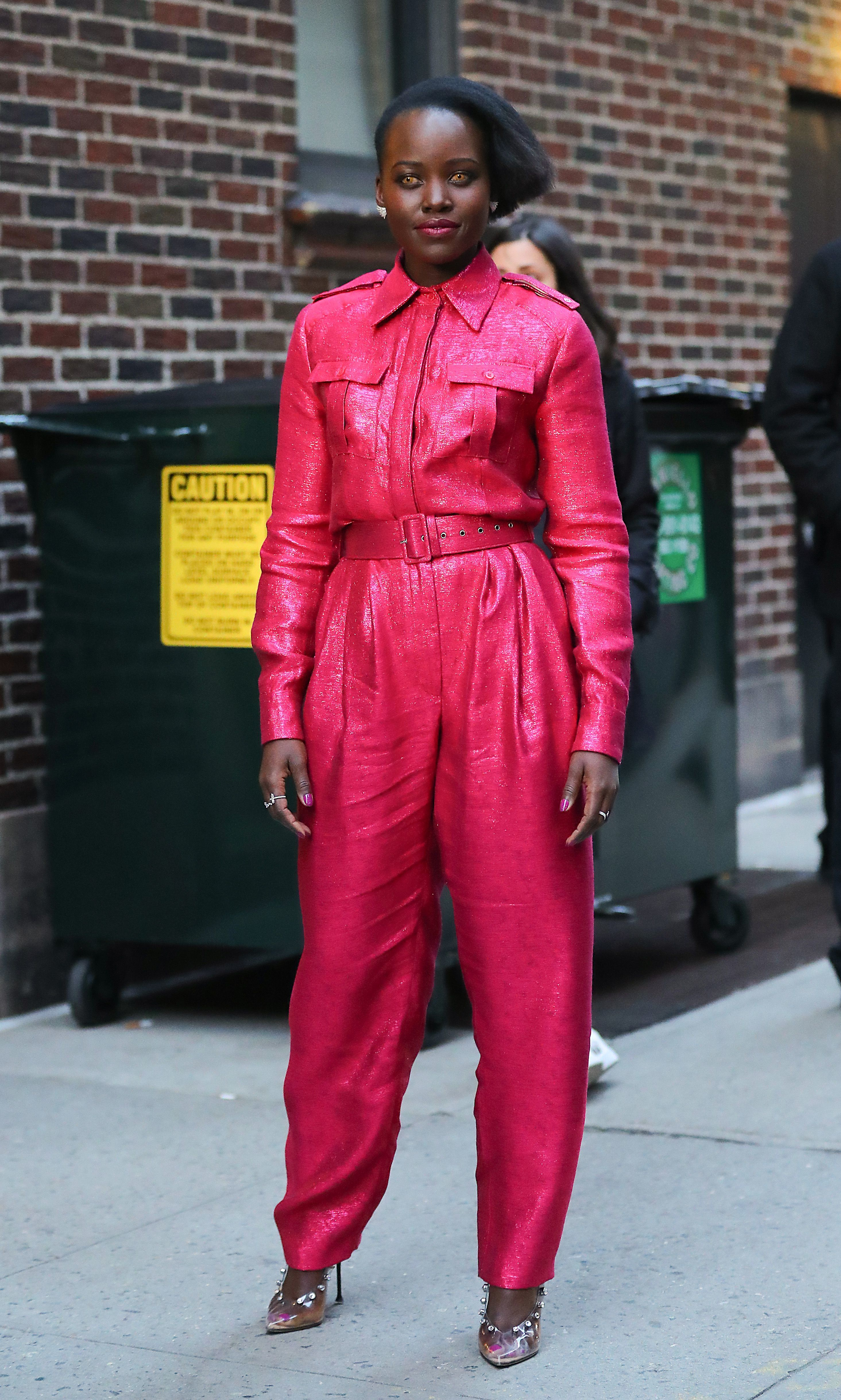 """Lupita Nyong'o appears at """"The Late Show with Stephen Colbert"""" TV show in New York City on March 18, 2019."""