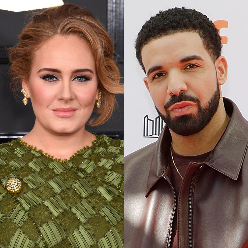 """Adele attends the 59th Annual Grammy Awards in Los Angeles on Feb. 12, 2017. Drake attends the Toronto International Film Festival premiere of """"The Carter Effect"""" at the Princess of Wales Theatre on Sept. 9, 2017."""